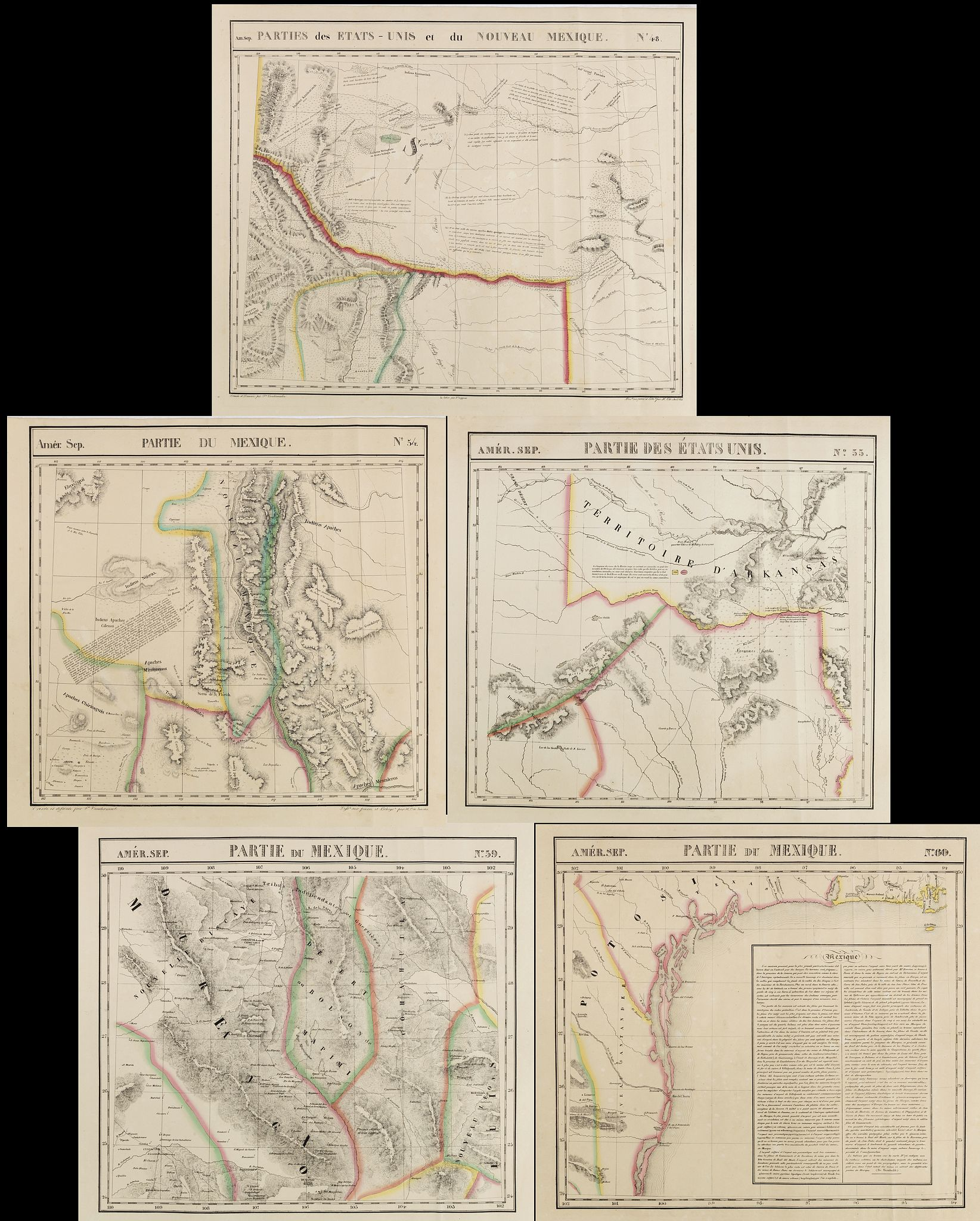 VANDERMAELEN, Ph.,  [TEXAS] Set of 5 maps in plano format, on an uniform scale, covering Texas., antique map, old maps