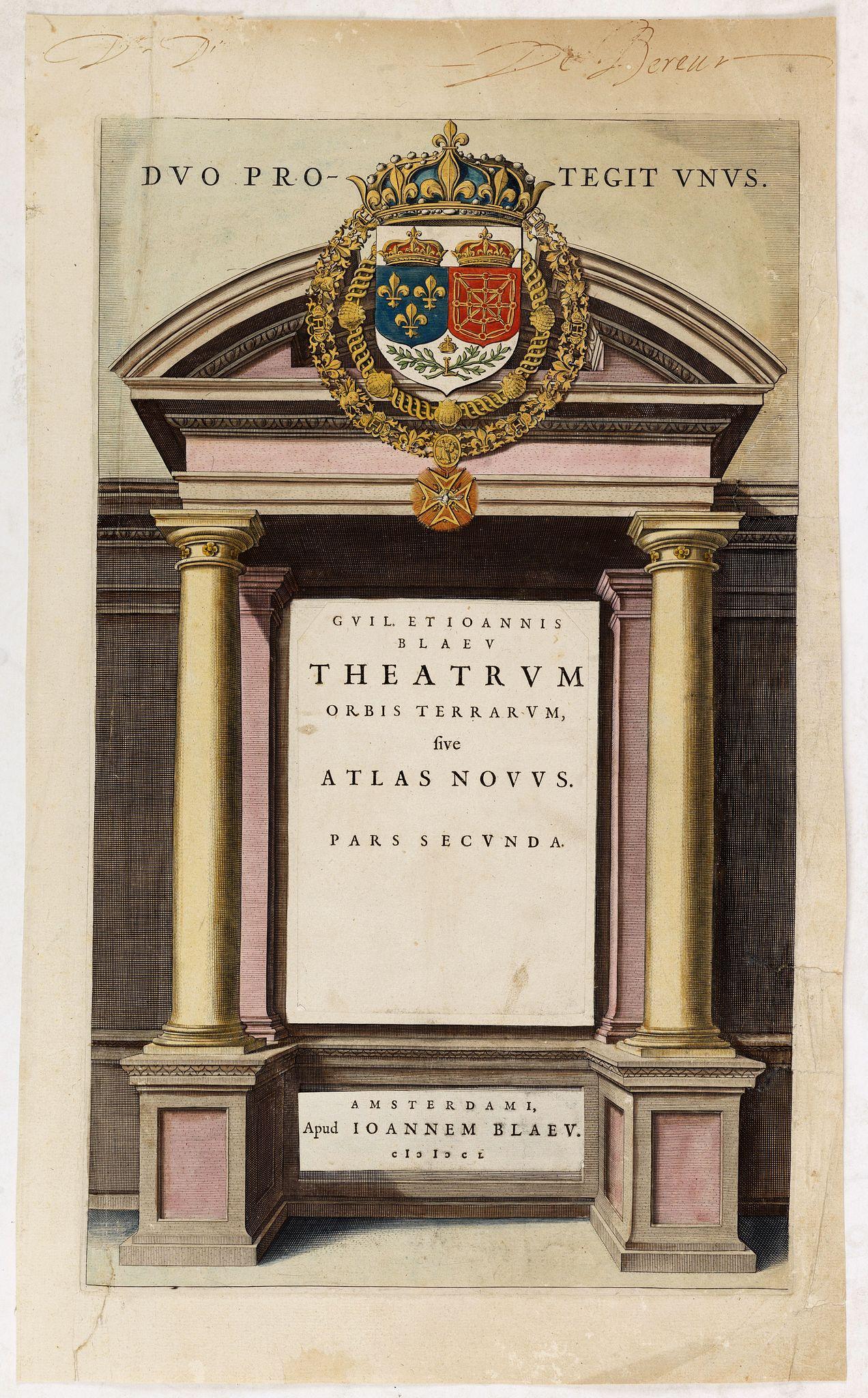 BLAEU, J. -  (Title page from ) . . . Atlas Novus pars secunda. Duo Protegit Unus.