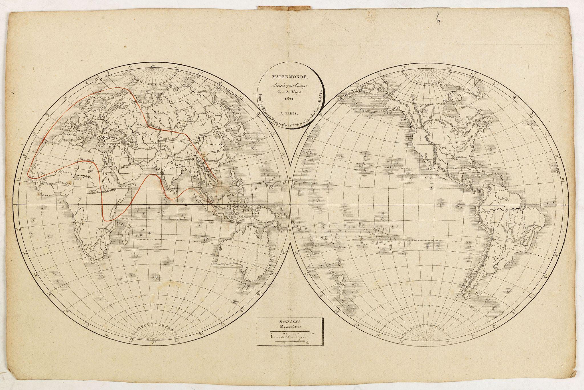 SELVES,H. - Mappe-Monde, dressée pour l'usage des Colléges 1821 à Paris. . .