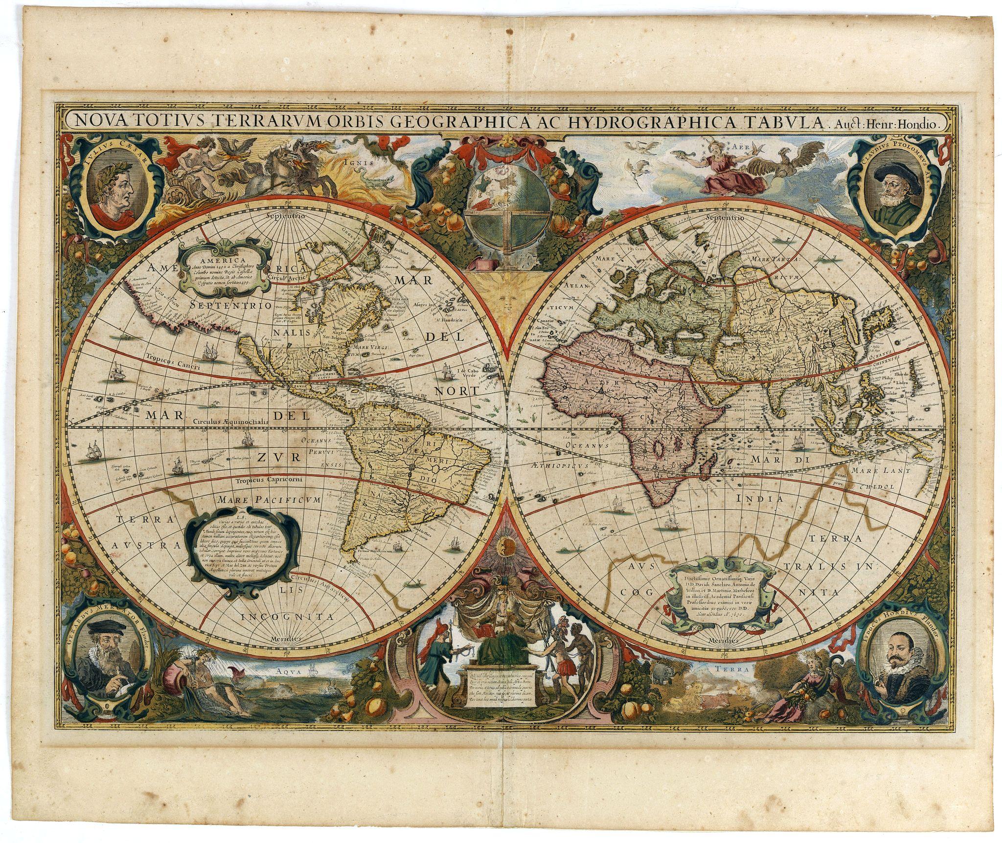HONDIUS, H. -  Nova Totius Terrarum Orbis Geographica..