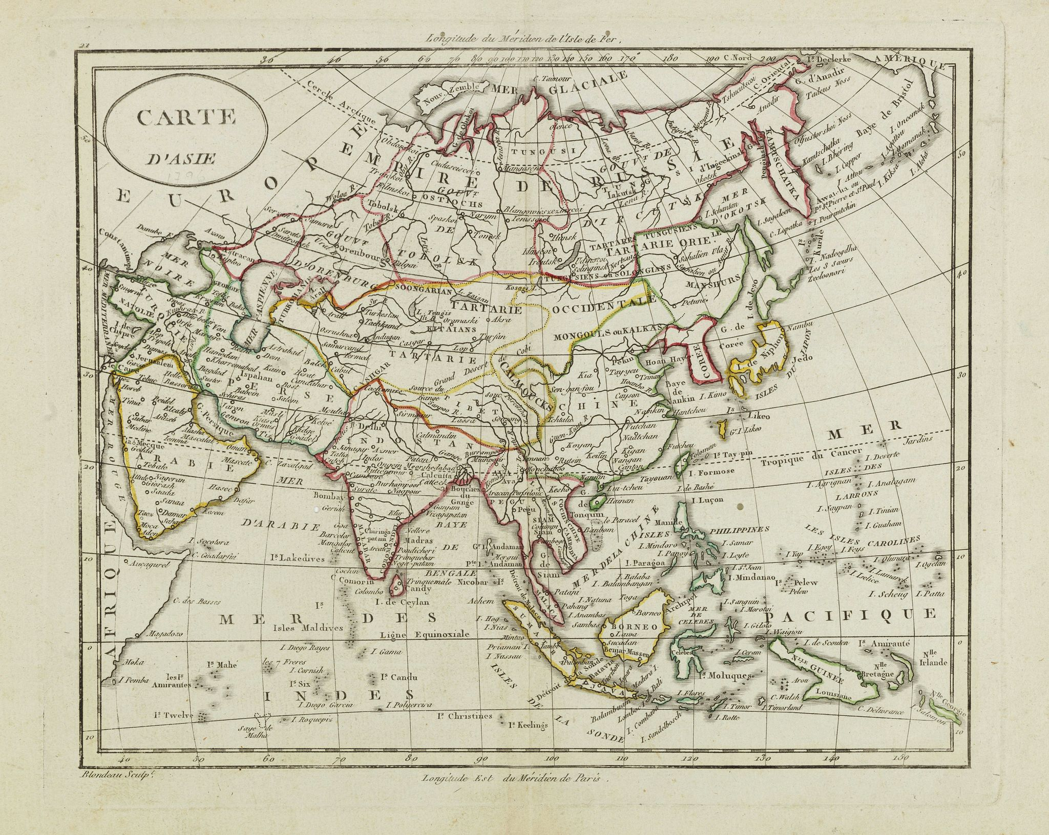 BLONDEAU, A. -  Carte d'Asie.
