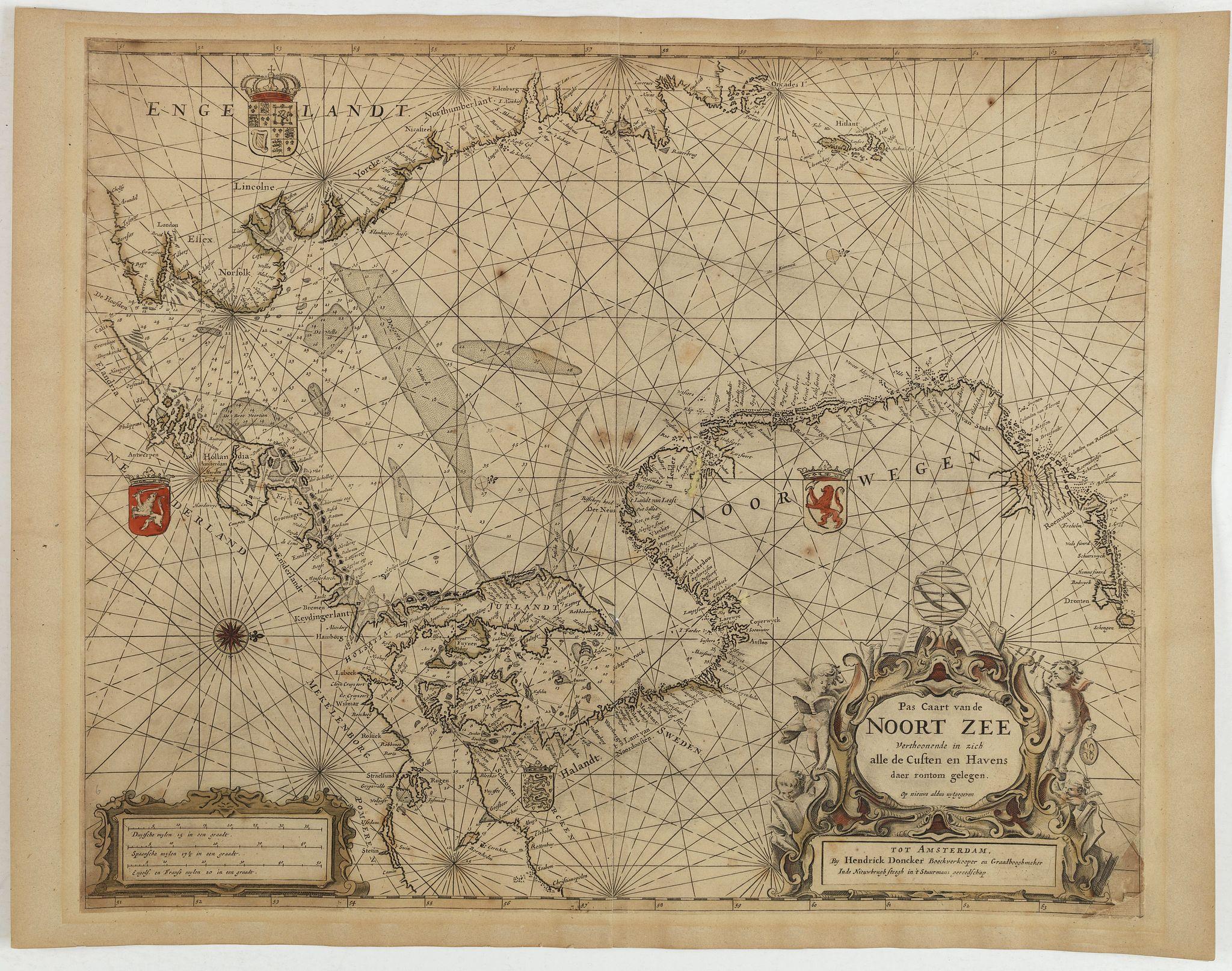 DONCKER, H. -  Pas Caart van de Noort Zee Verthoonende in zich alle de Custen en Havens daer rontom gelegen.