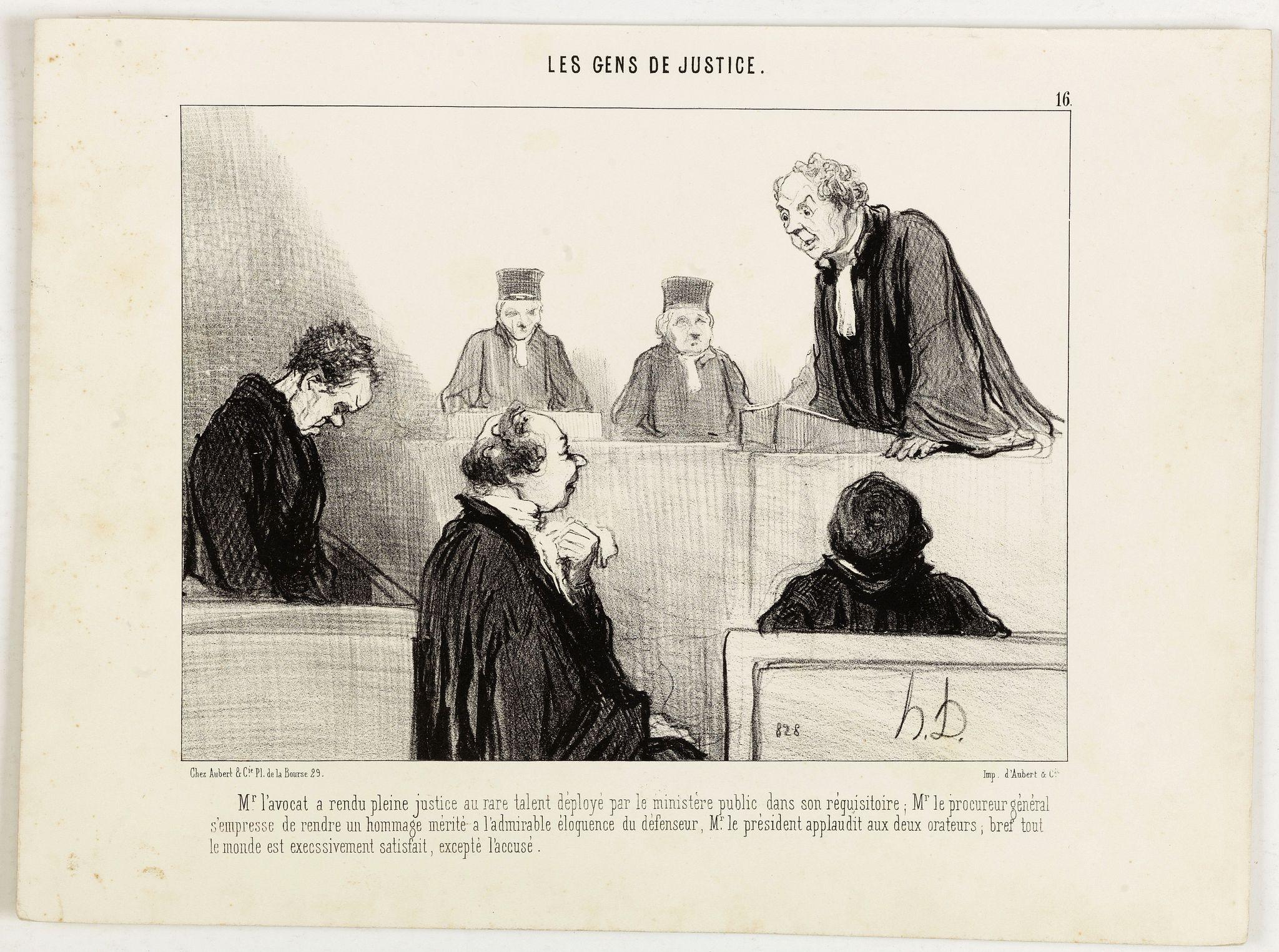 DAUMIER, H. -  Les Gens de Justice. - Mr. l'avocat a rendu pleine justice au rare talent déployé par le ministère public . . .