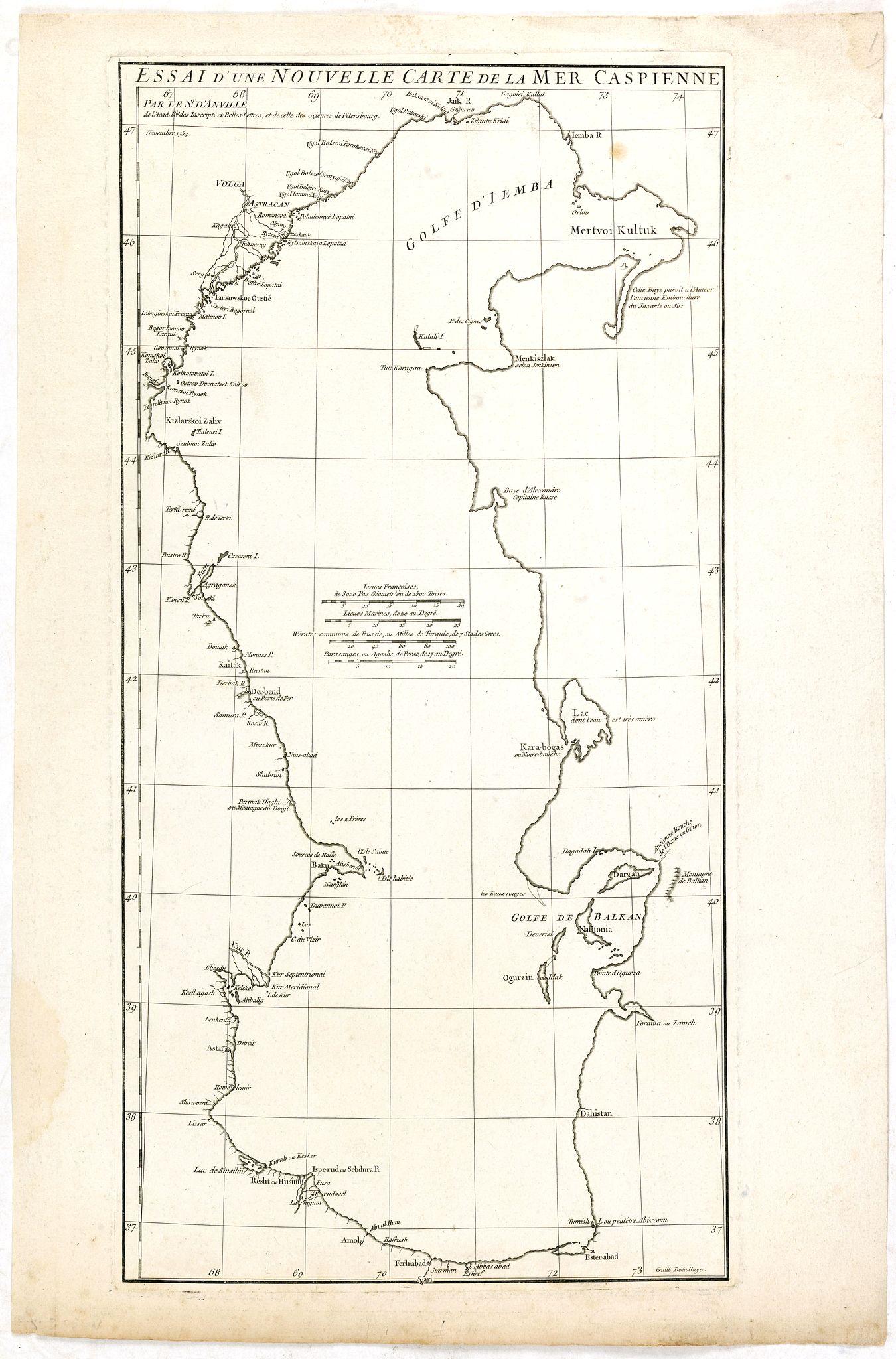 D'ANVILLE, J. -  Essai D'Une Nouvelle Carte de la Mer Caspienne.
