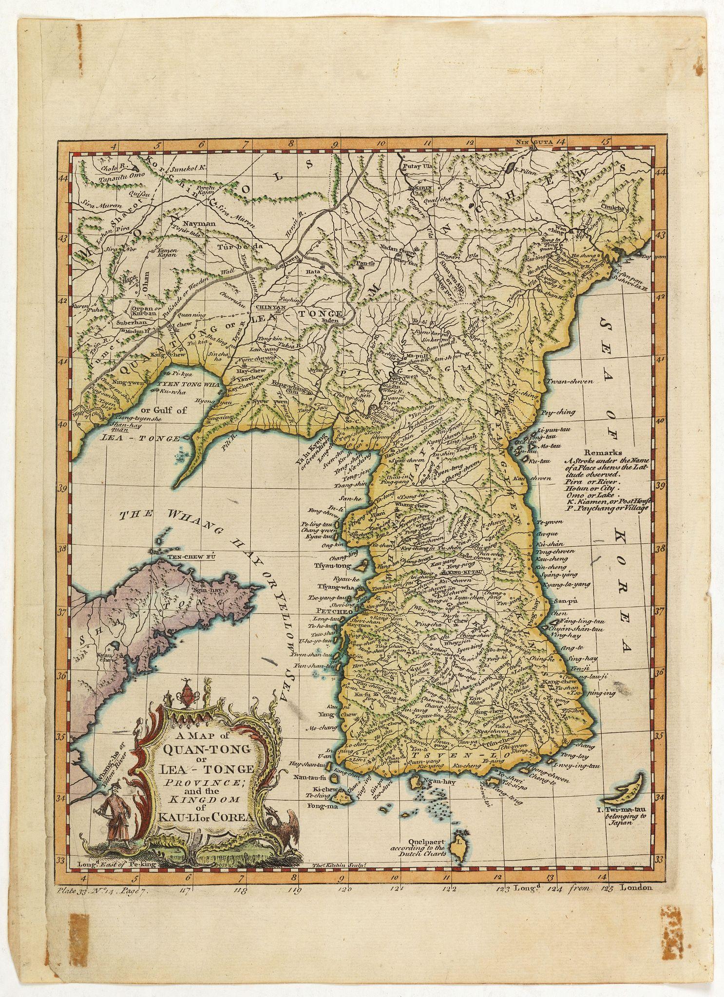 KITCHIN, Th. -  A map of Quan-Tonge province and the kingdom of Kau-Li or Korea.