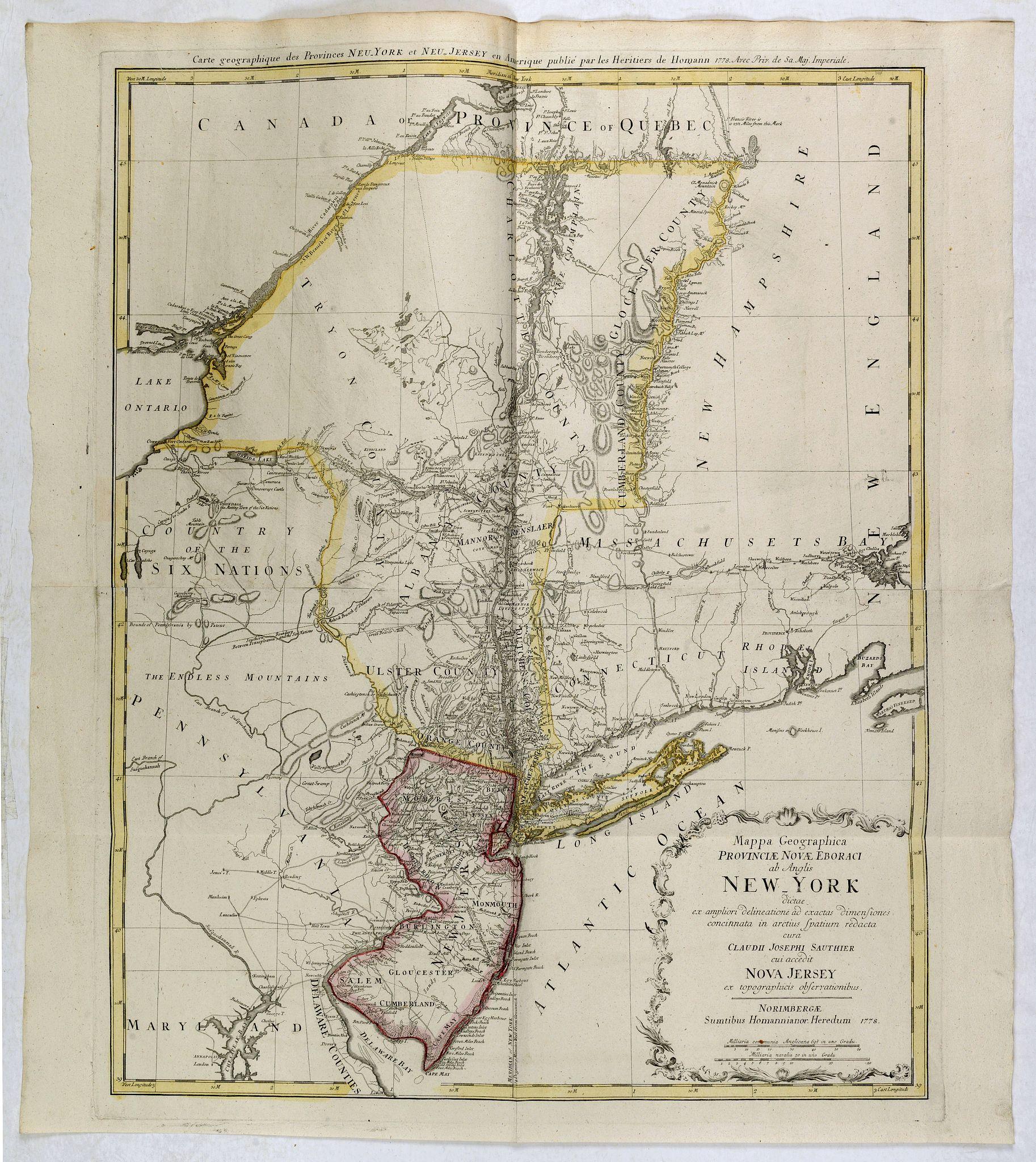 HOMANN HEIRS. -  Mappa Geographica provinciae Nova Ebboraci ab Anglis NEW-YORK dictae. . .