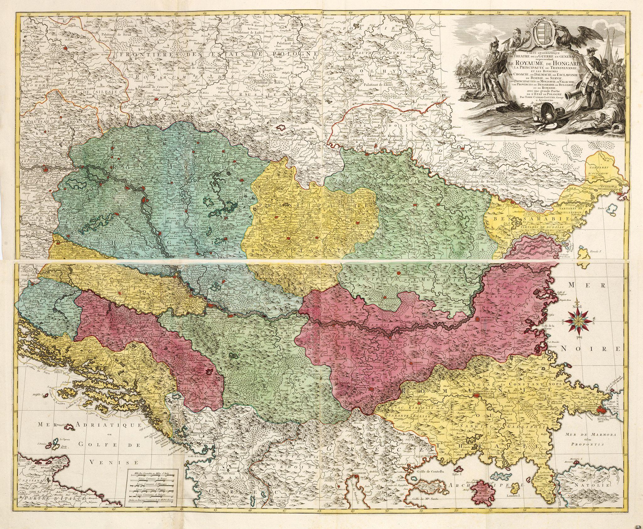 LOTTER, T. -  Carte Geographique du Theatre de la Guerre en General representant le Royaume de Hongarie la Principauté de Transylvanie, et les Royaumes de Croacie, de Dalmacie, de Esclavonie, de Bosnie, de Servie . . .  avec une grande Partie de l'Etat de Pologne