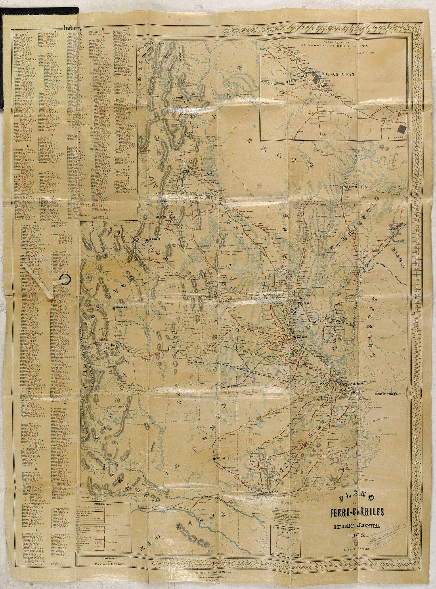 MONQAUT / VAZQUEZ MILLAN -  Plano de los Ferro-Carriles de Republica Argentina 1902.