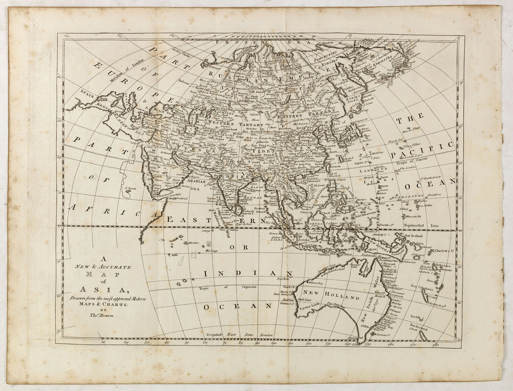 BOWEN, Th. -  A new & accurate map of Asia, Drawn from the most approved modern maps & charts / by Thos. Bowen.