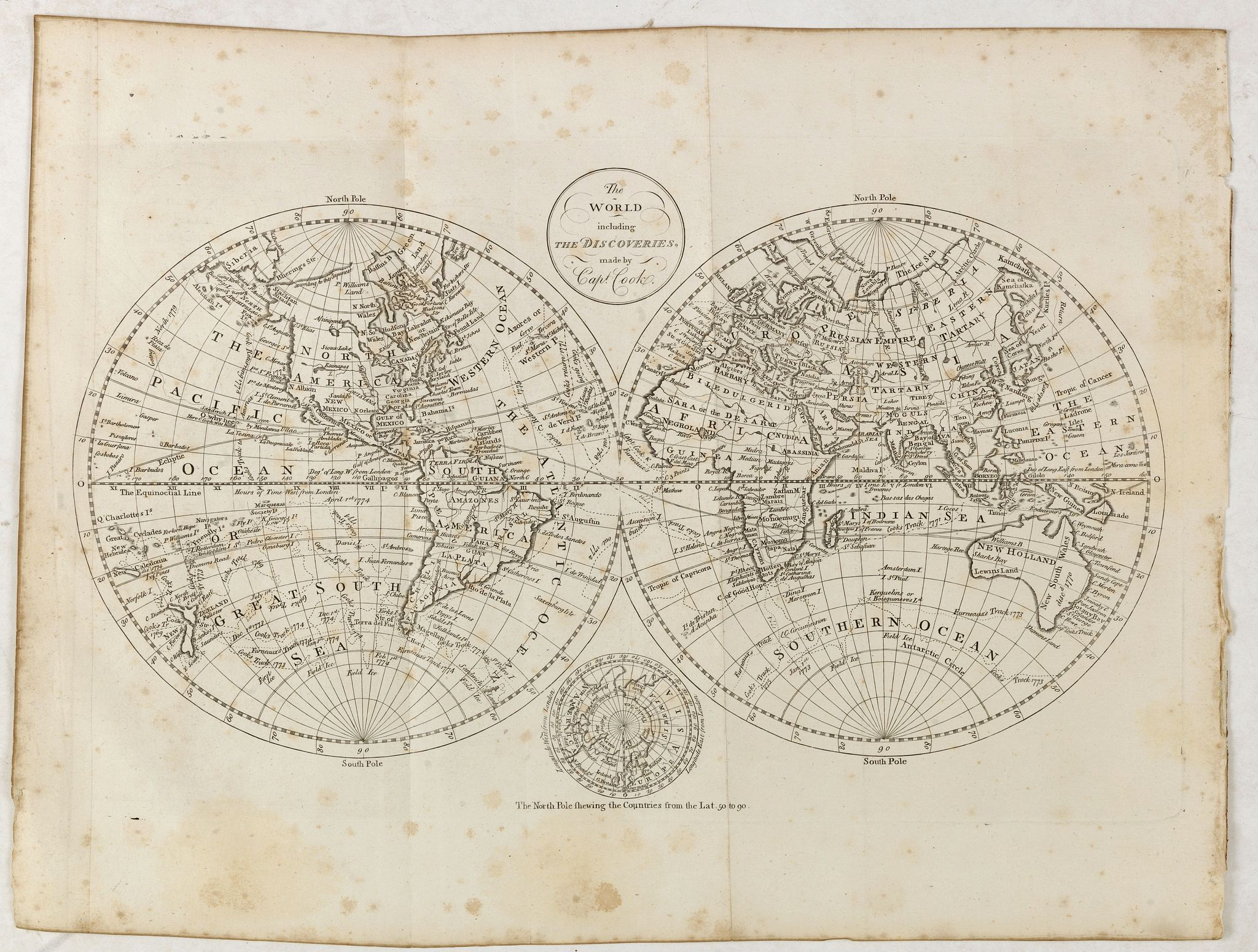 BOWEN, T. -  The world, including the discoveries made by Capt. Cook.