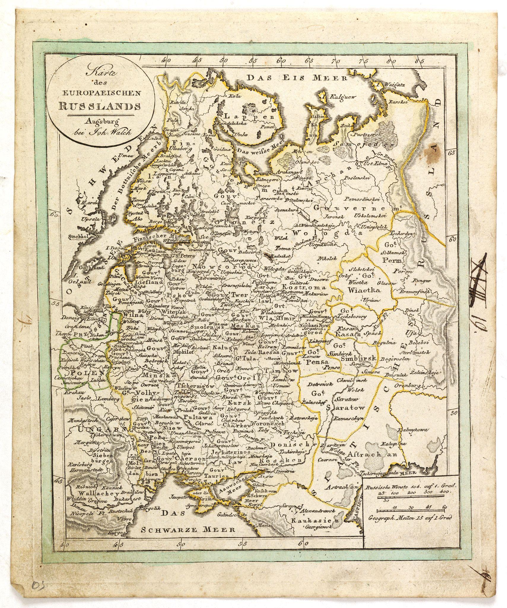 WALCH, J. -  Karte des Europaeischen Russland. . ..