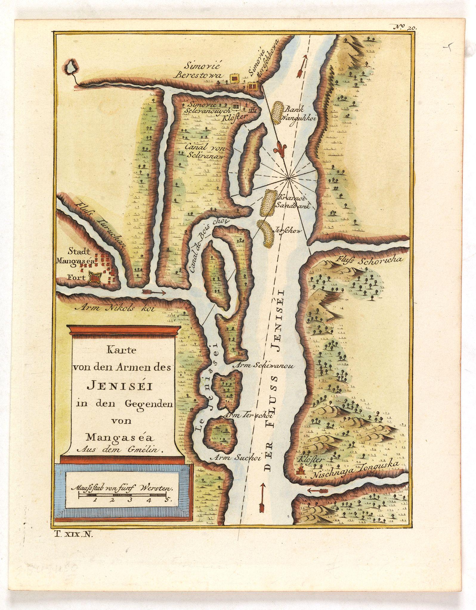 BELLIN, J.N. -  Karte von den Armen des Jeniséi in den Gegenden von Mangaséa Aus dem Gmélin.