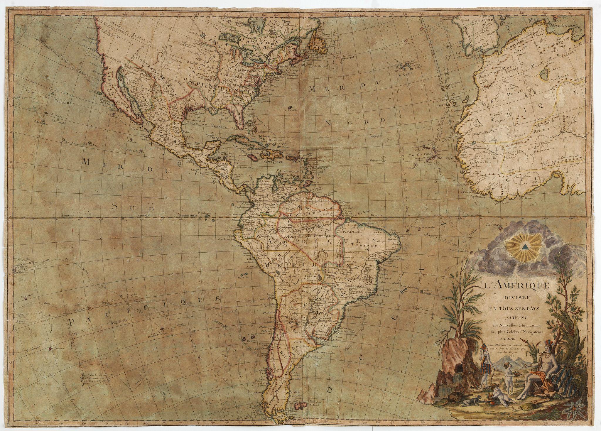 MONDHARE, L,J. / J. -  L' Amérique divisée en tous ses pays suivant, les nouvelles observations des plus celébres navigateurs. . . 1788