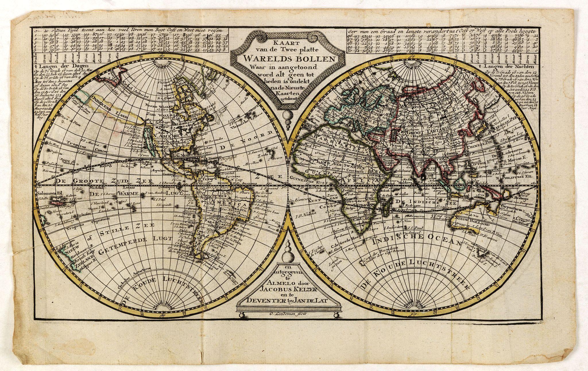 KEIZER, J. / DE LAT, J. -  Kaart van de twee platte warelds bollen waar in aangetoond word alt geen tot heden is ondekt na de Nieuste kaarten getekent.