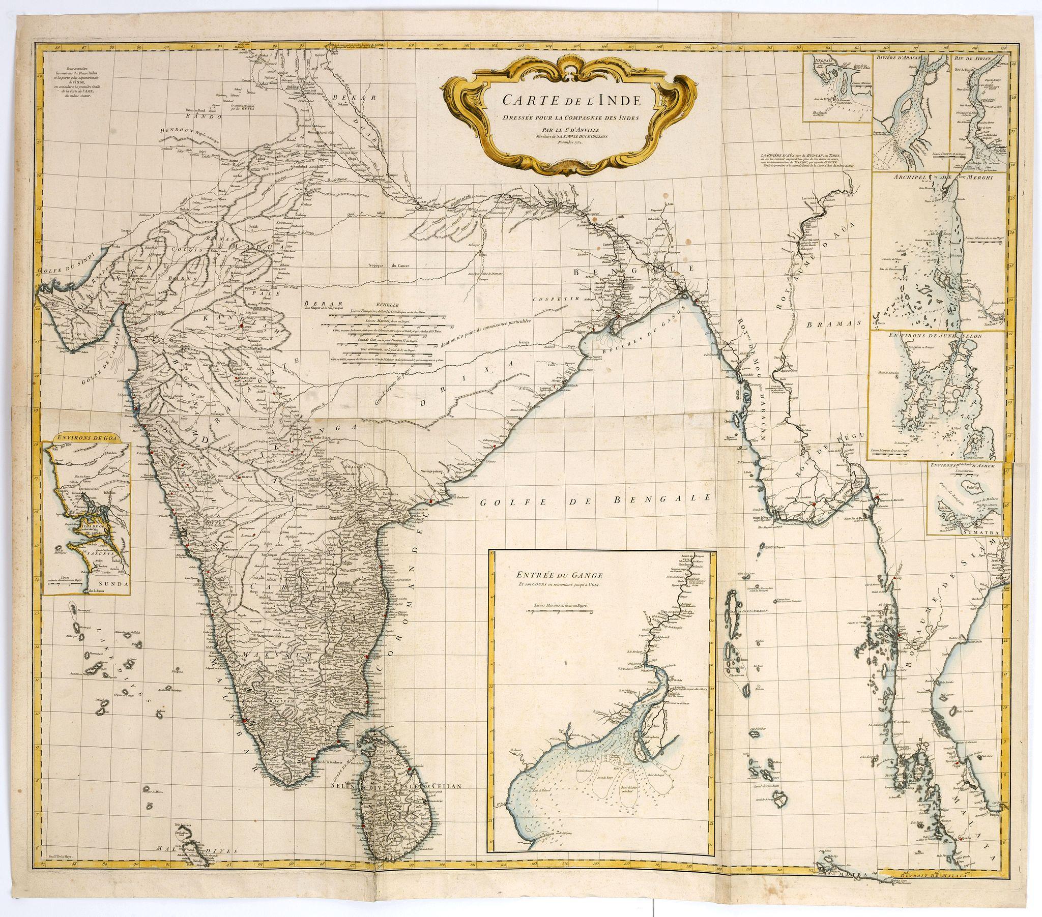 D'ANVILLE, J.B.D. -  Carte de l'Inde Dressee pour la Compagnie des Indes par le Sr. d'Anville Secretaire de S.A.S.Mgr. le Duc d'Orleans Novembre 1752.