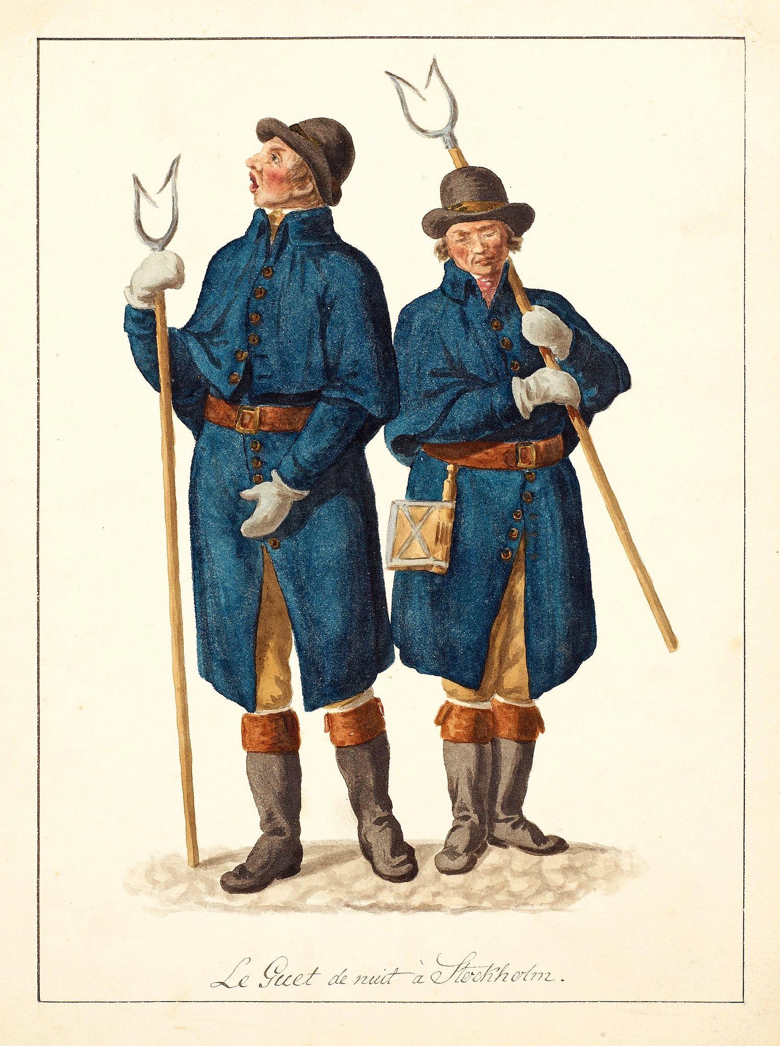 SWEDMAN, C.W. attributed to -  Le Guet de nuit à Stockholm.