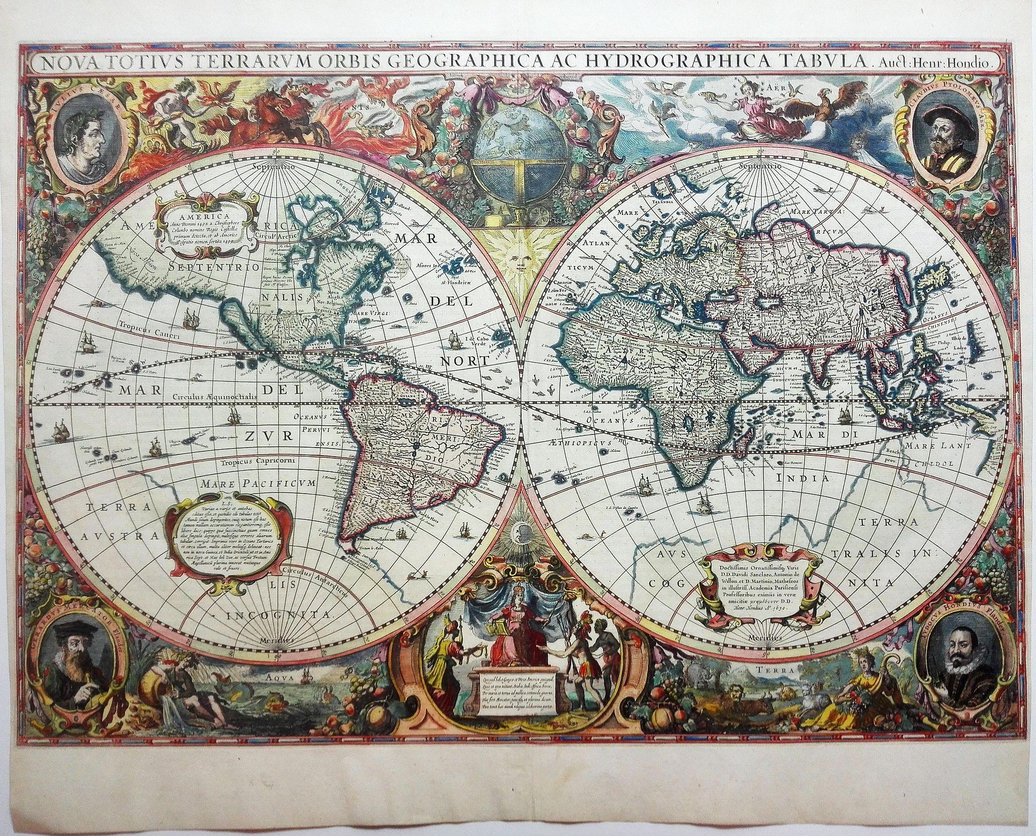 HONDIUS, H. -  Nova Totius Terrarum Orbis Geographica. . .