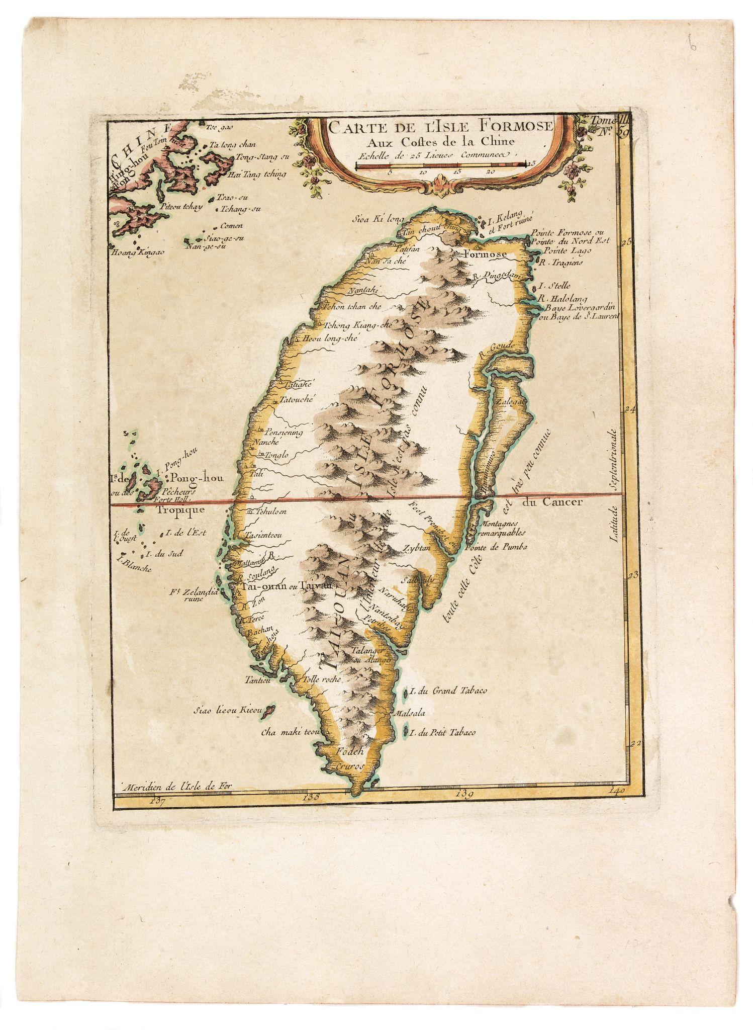 BELLIN, J.N. -  Carte de L'Isle Formose aux  Costes de la Chine.