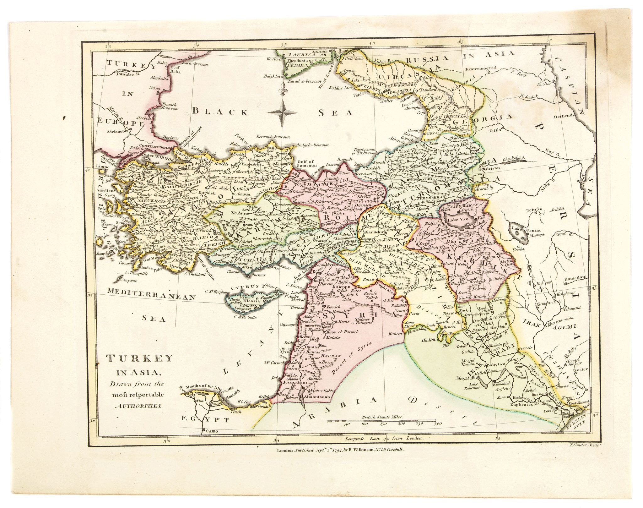 WILKINSON, R.,  Turkey in Asia., antique map, old maps