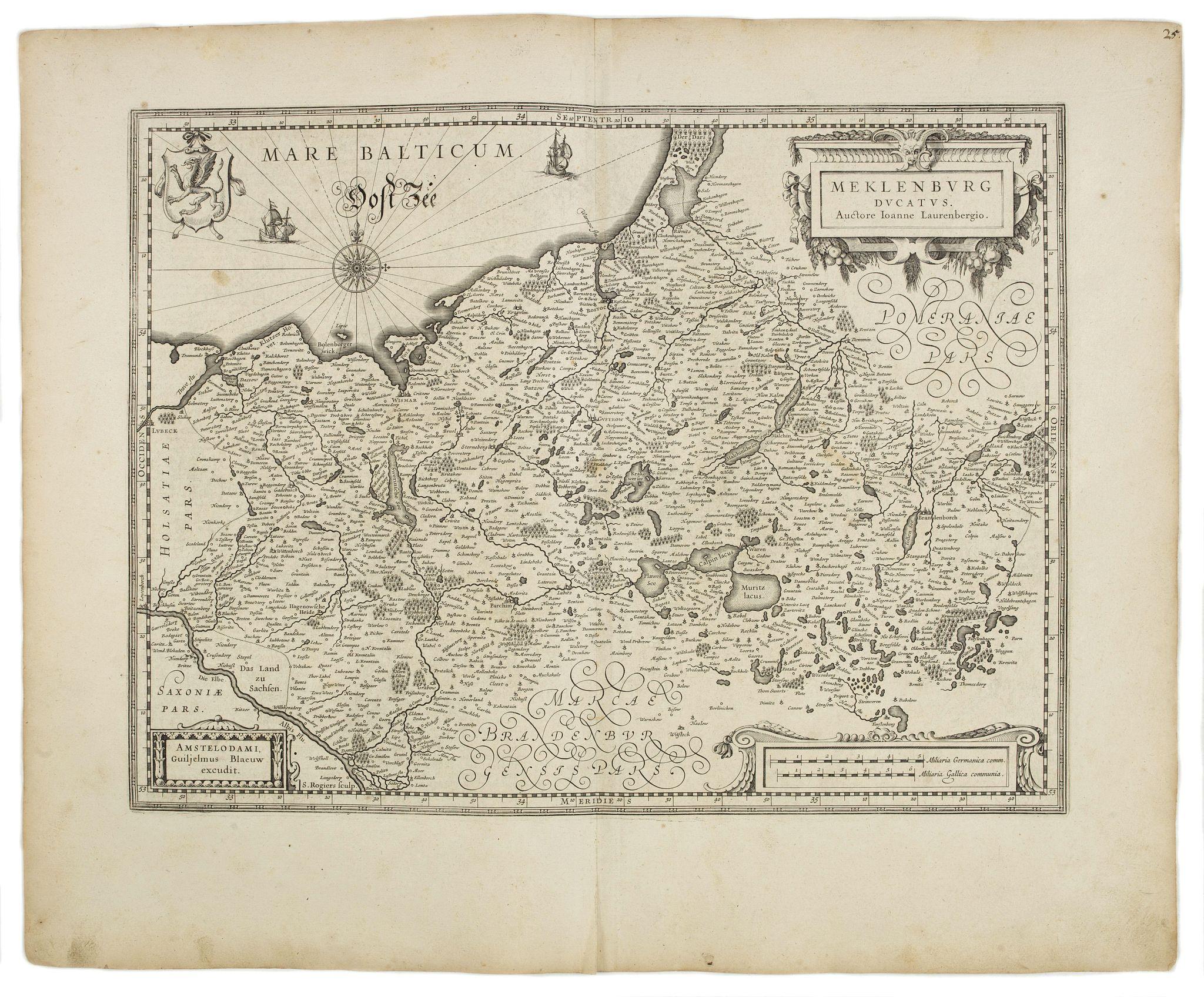 BLAEU, W. -  Mecklenburg ducatus. Auctore Ioanne Laurenbergio.