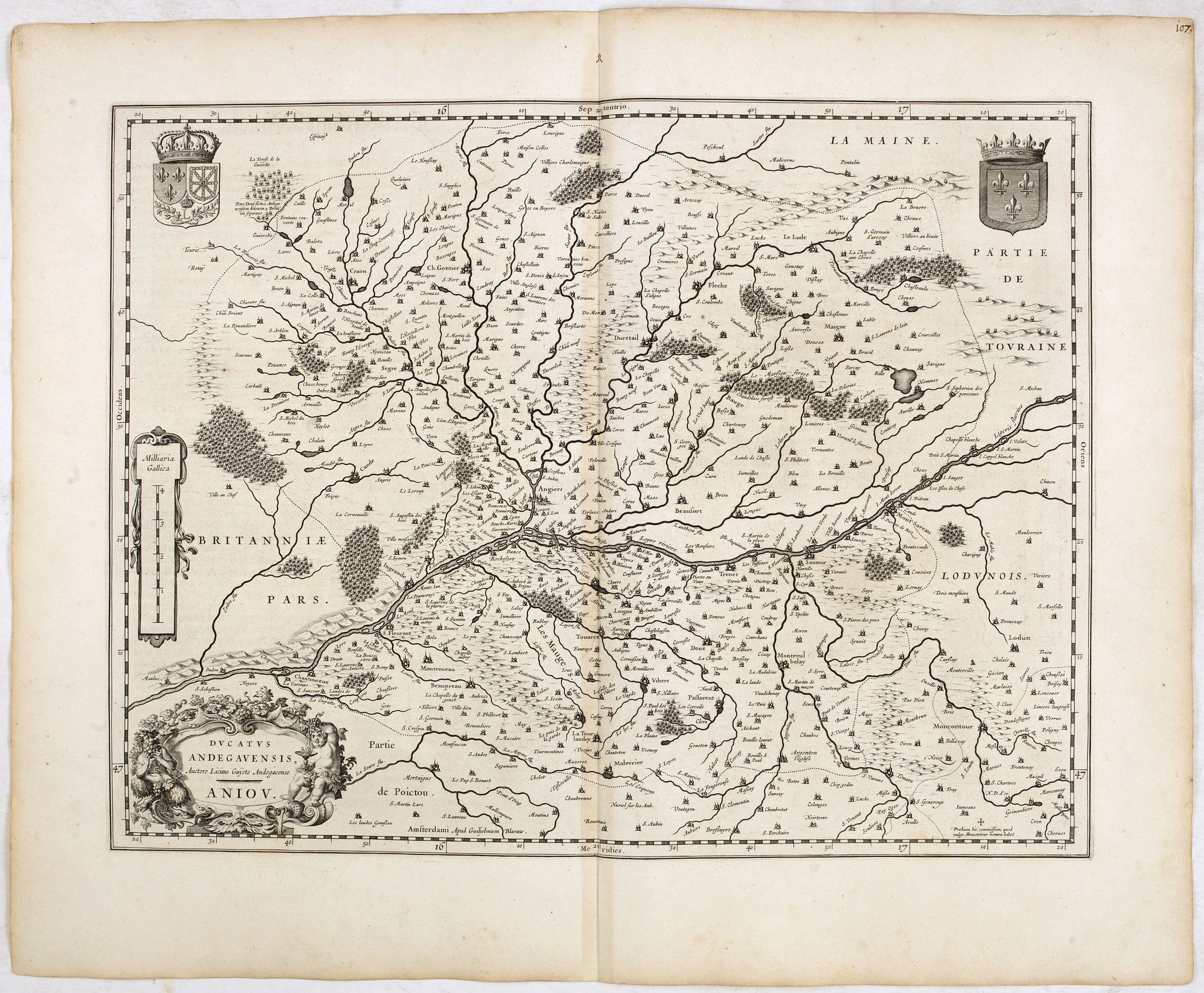 BLAEU, W.,  Ducatus Andegavensis, Auctore Licimo Guÿeto Andegavense. Aniou., antique map, old maps