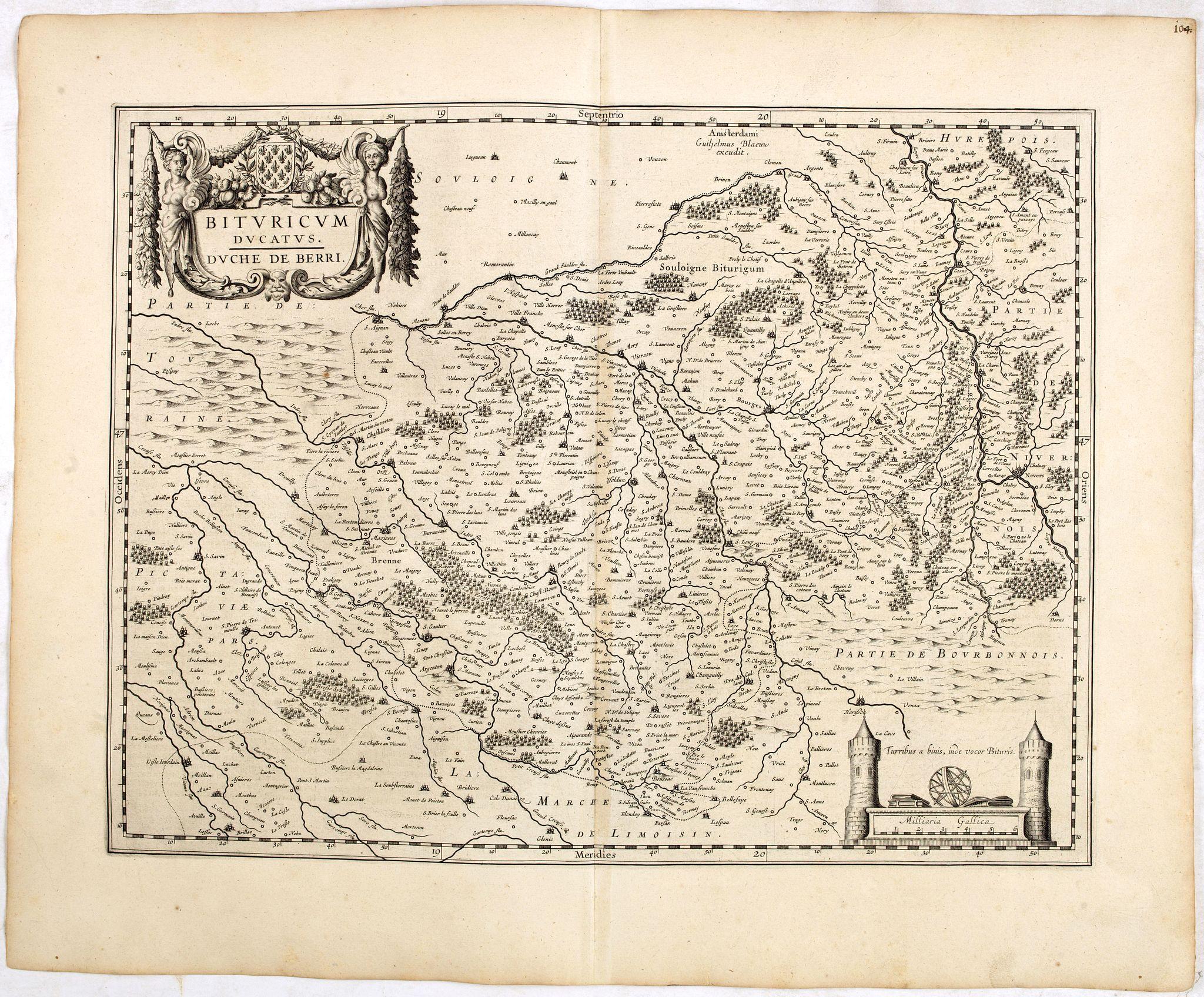 BLAEU, W. -  Bituricum Ducatus. Duche de Berri.