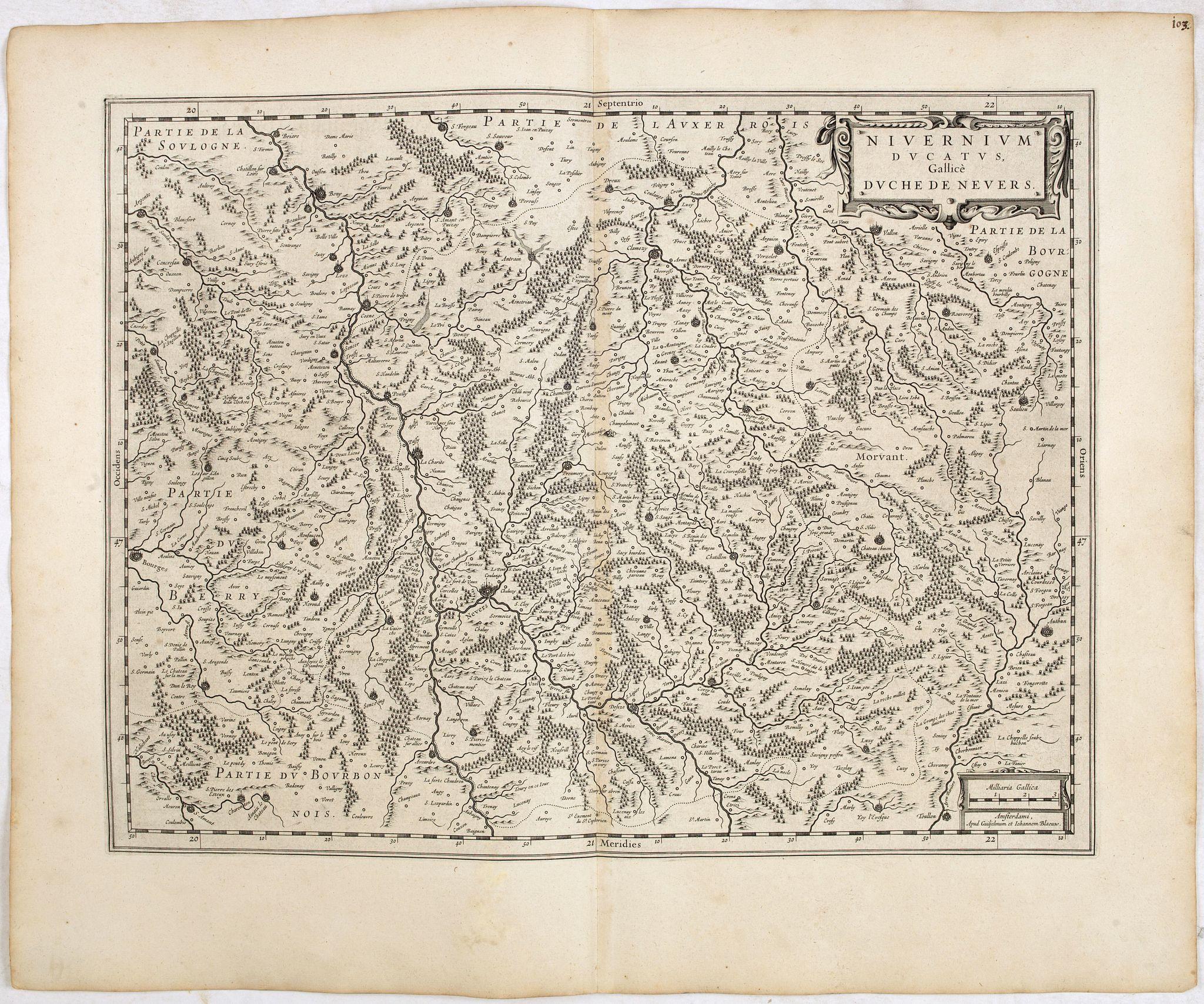 BLAEU, W. -  Nivernium Ducatus. Gallicèa Duche de Nevers.