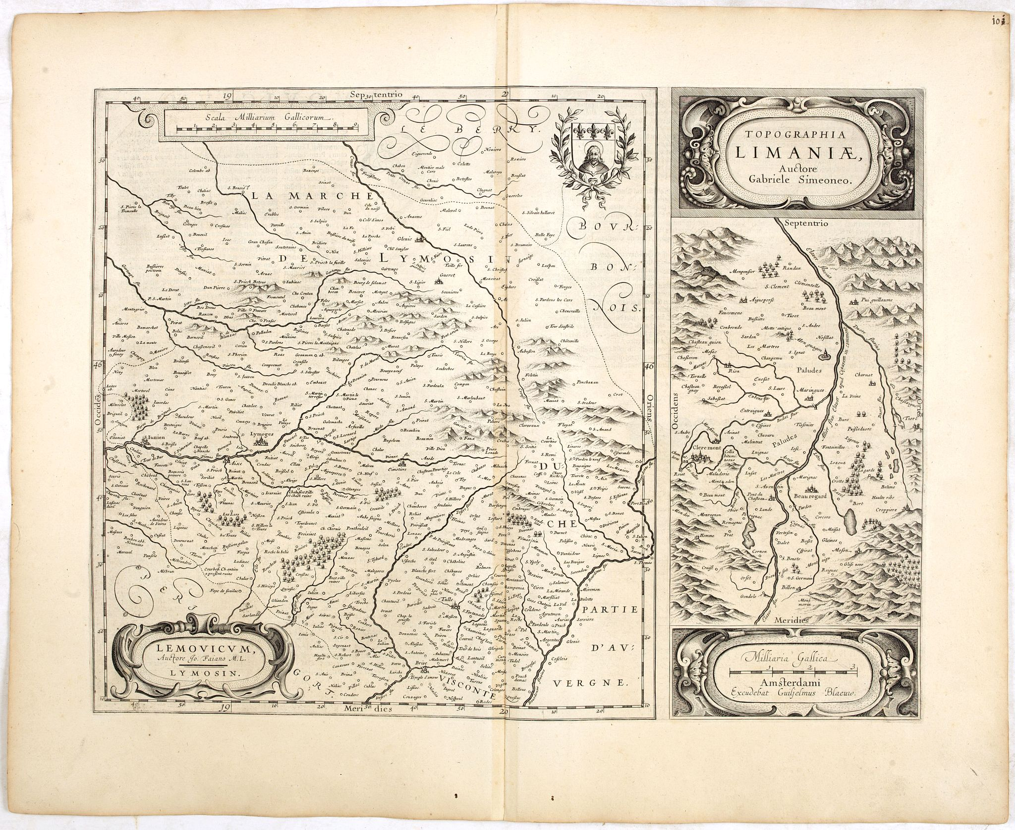BLAEU, W.,  Lemouicum, Auctore Jo. Faiano M.L. - Lymosin (together with) Topographia Limaniae, Auctore Gabriele Simeoneo., antique map, old maps