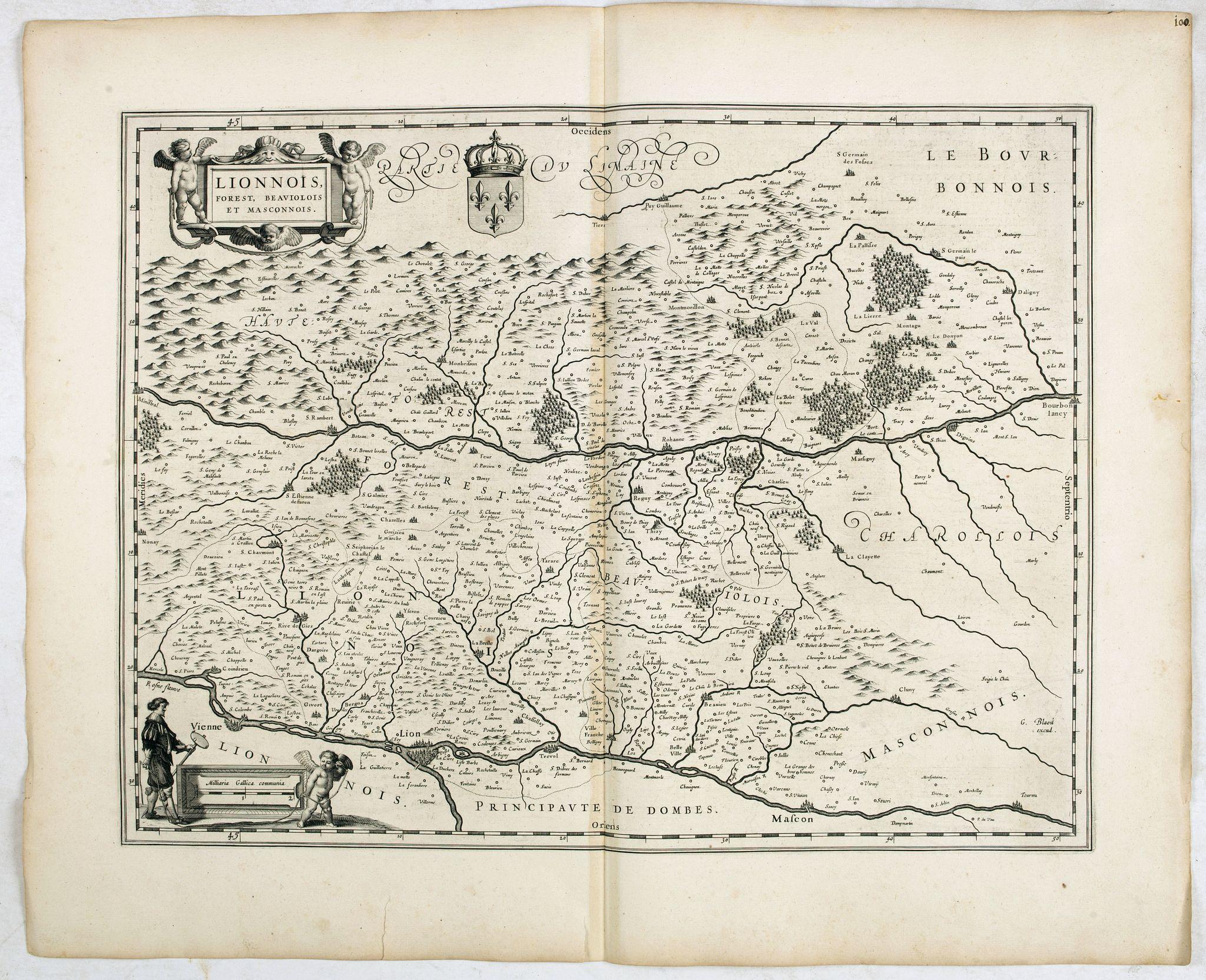 BLAEU, W. -  Lionnois, Forest, Beauiolois et Masconnois.