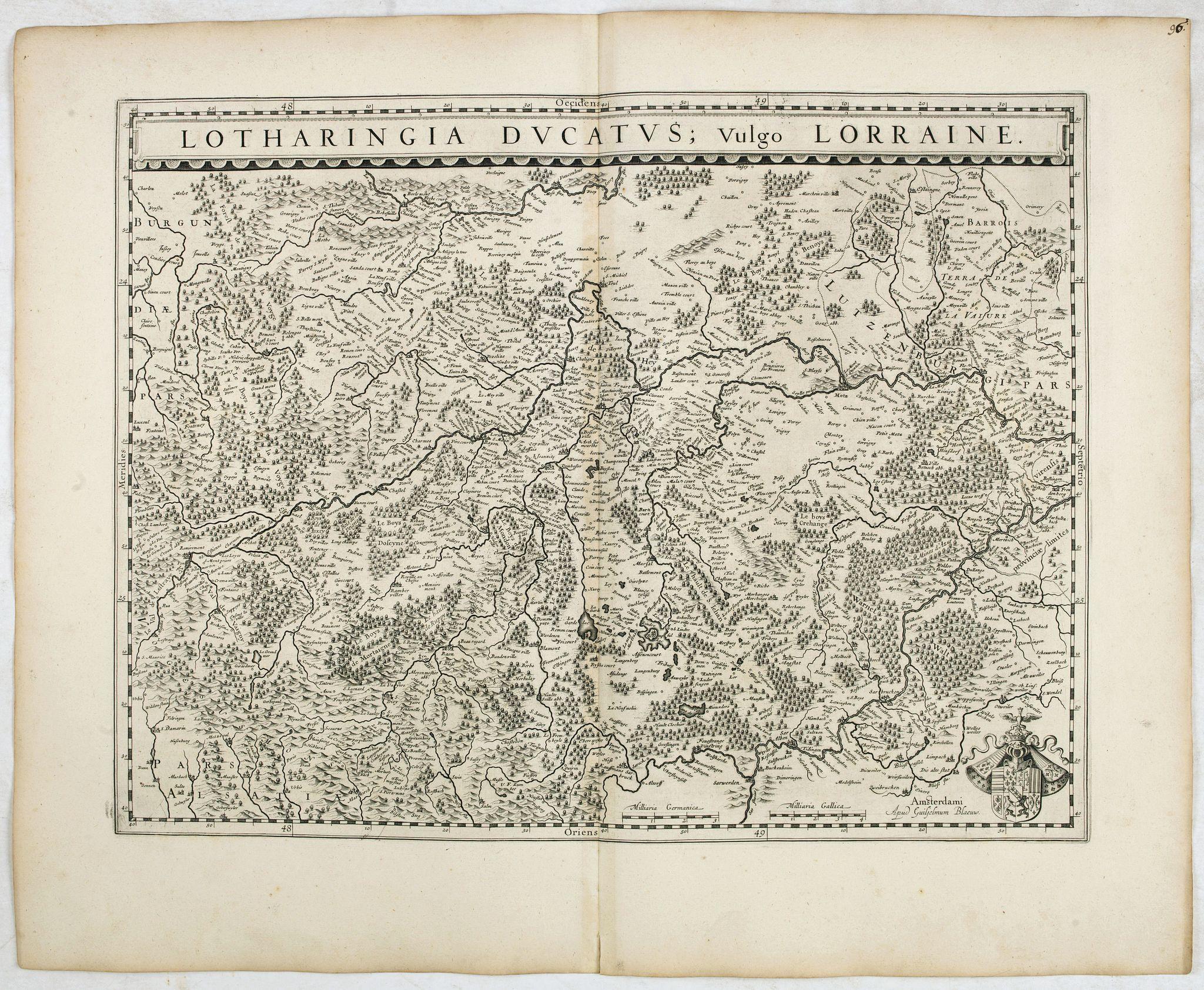 BLAEU, W. -  Lotharingia Ducatus:  Vulgo Lorraine.