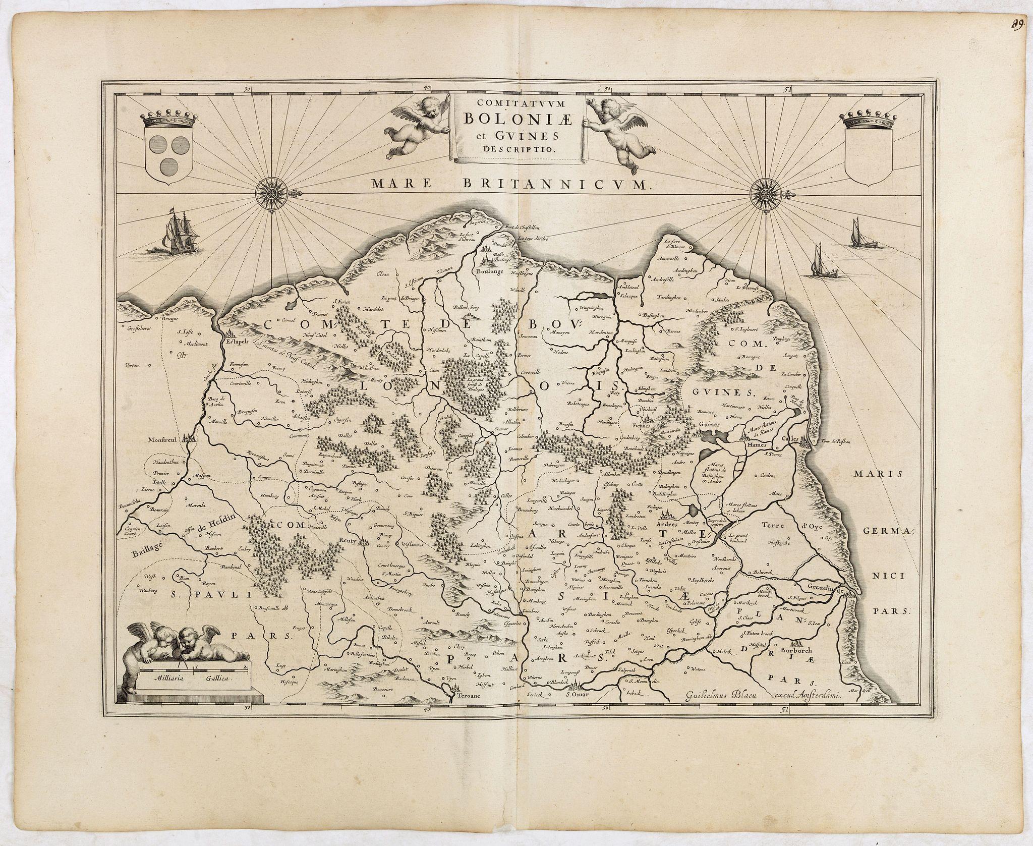 BLAEU, W. -  Comitatuum Boloniae et Guines Descriptio.