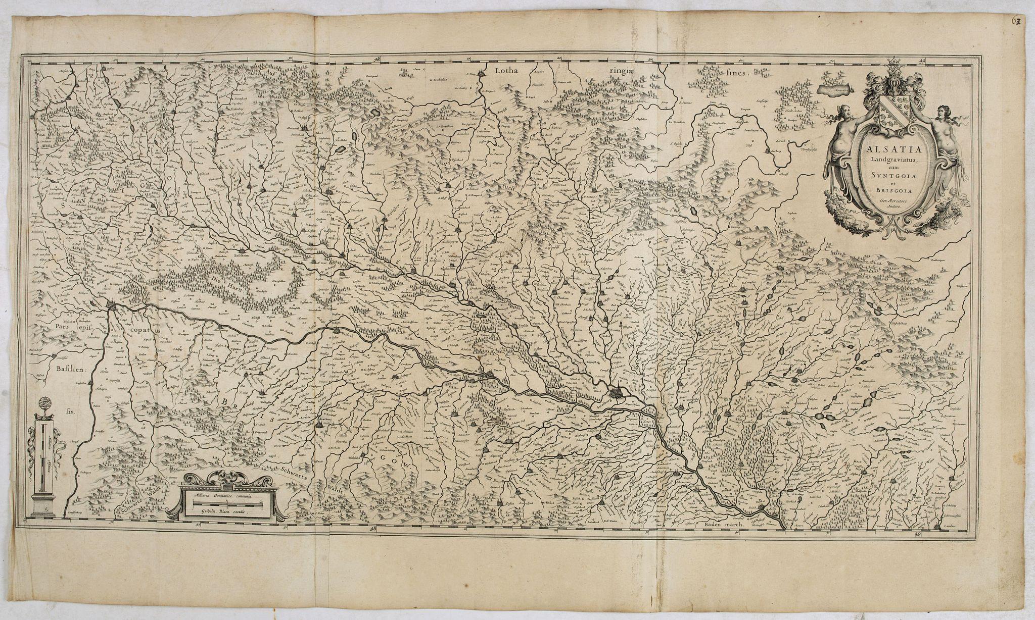 BLAEU, W. -  Alsatia landgraviatus, cum Suntgoia et Brisgoia,. . .