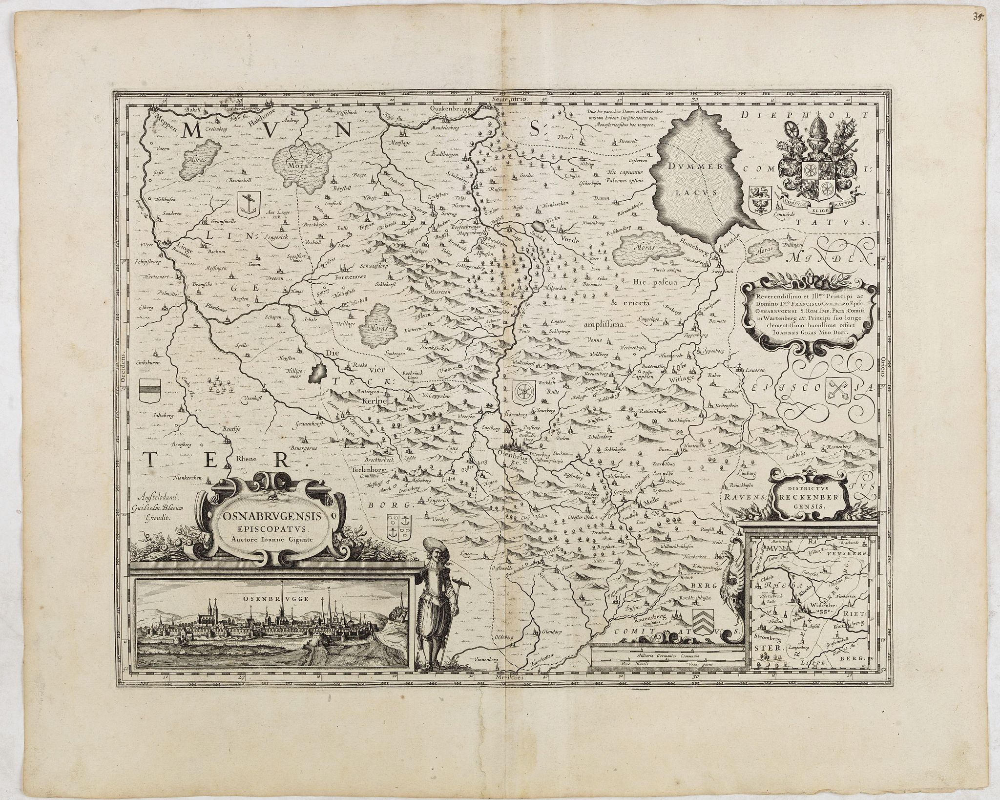 BLAEU, W.,  Osnabrugensis Episcopatus., antique map, old maps