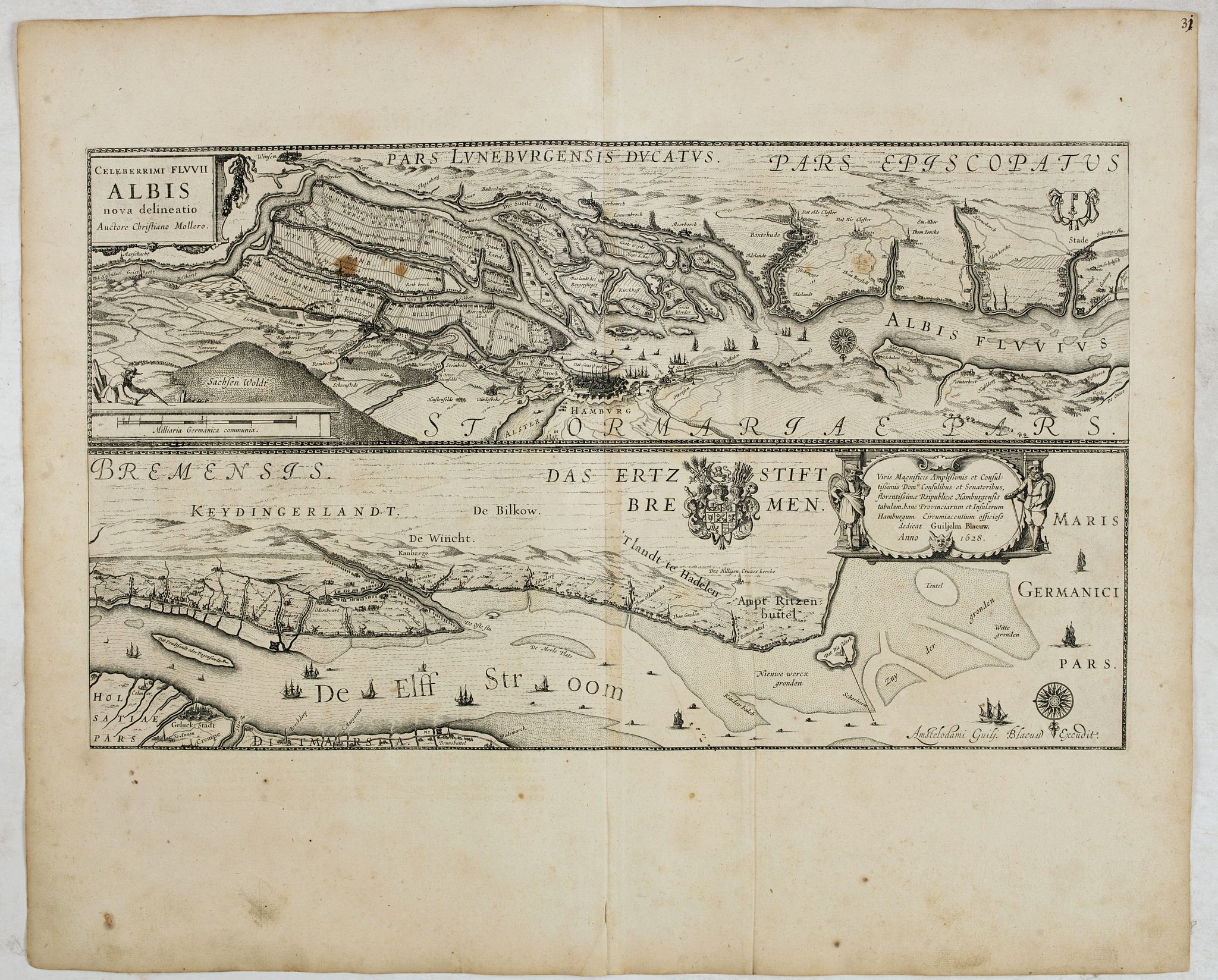 BLAEU, W.,  Celeberrimi Fluvis Albis nova delineatio., antique map, old maps