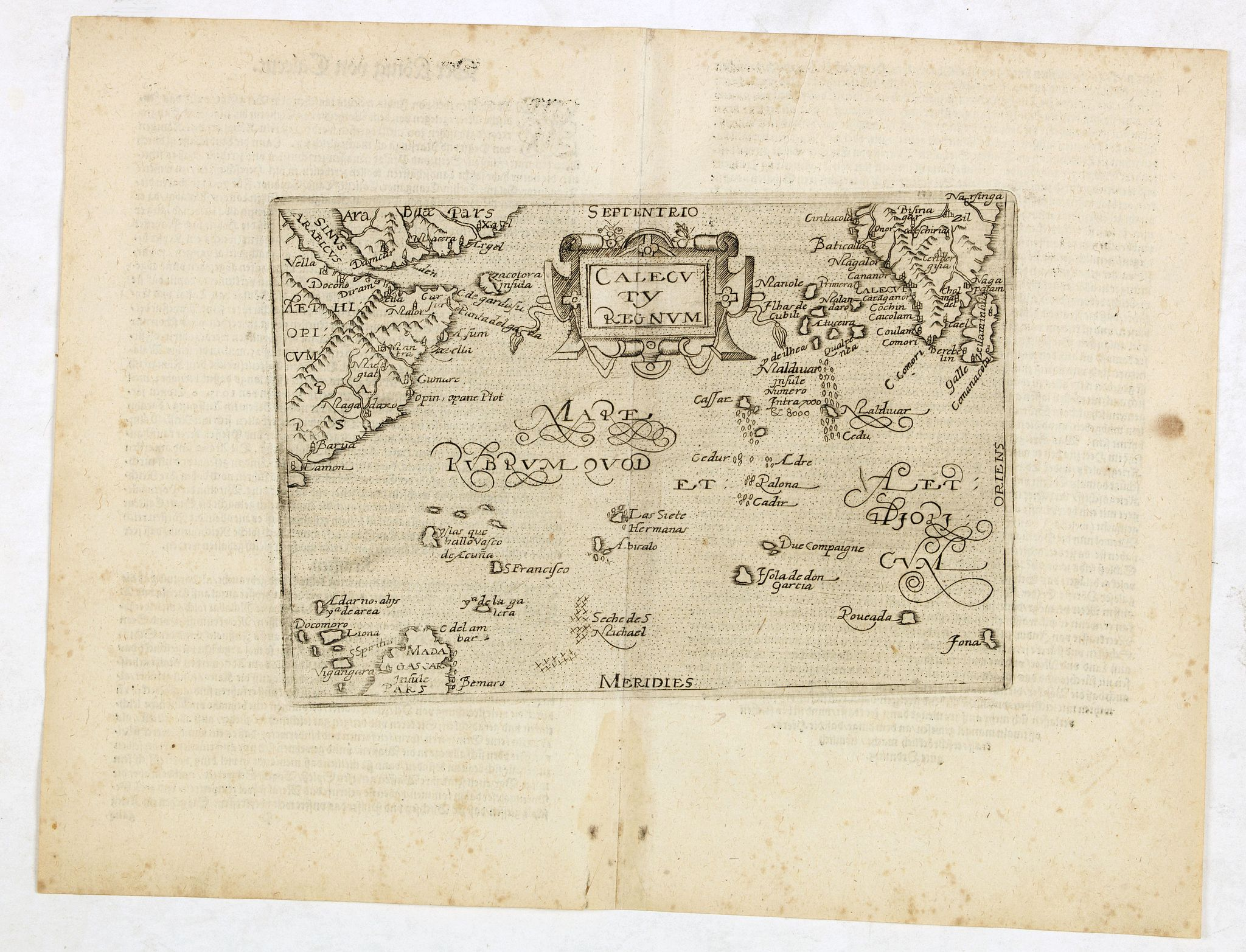 BOTERO, G.,  Calecuty Regnum, antique map, old maps