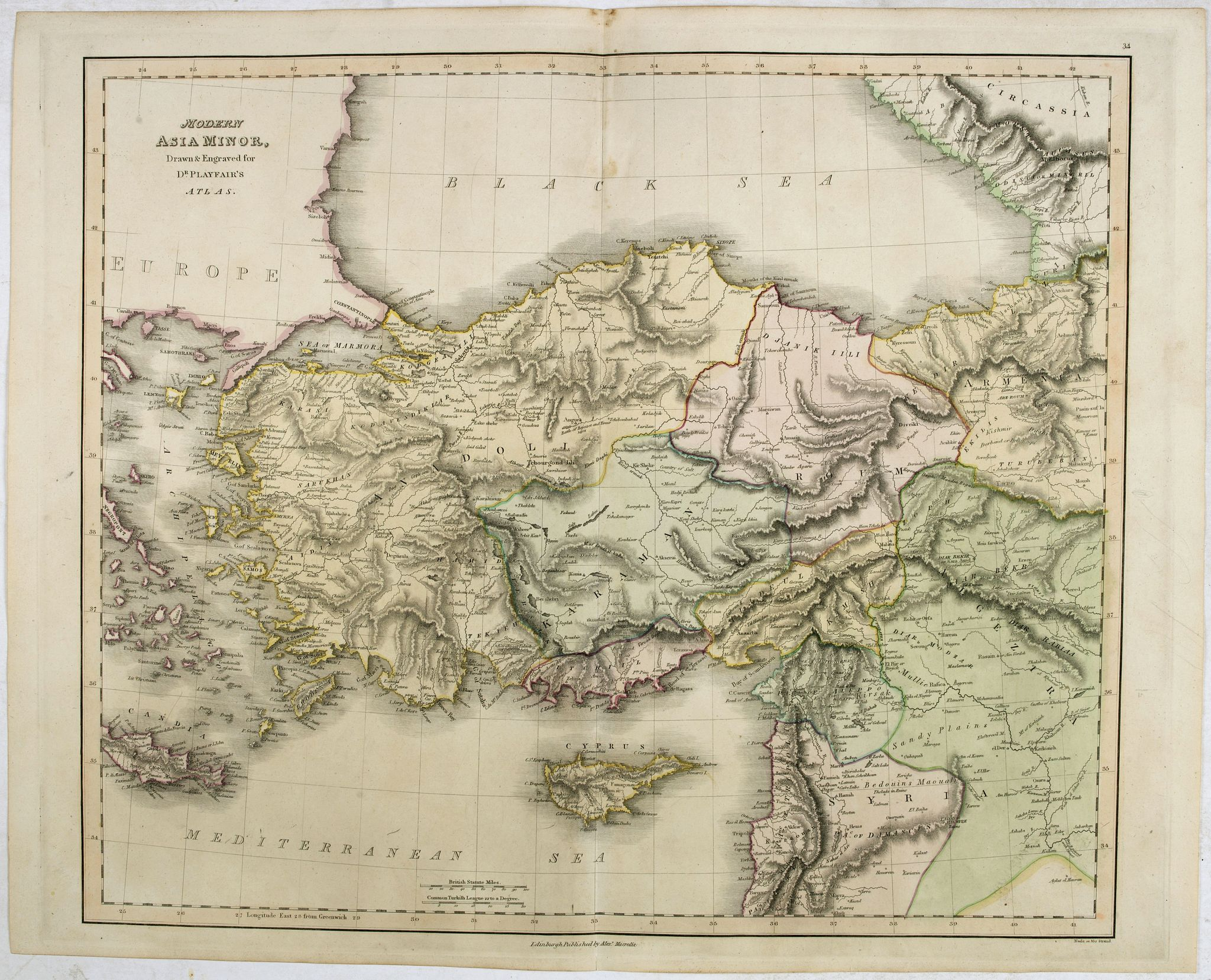 PLAYFAIR, J.,  Modern Asia Minor. Drawn & Engraved for Dr. Playfair's Geography., antique map, old maps