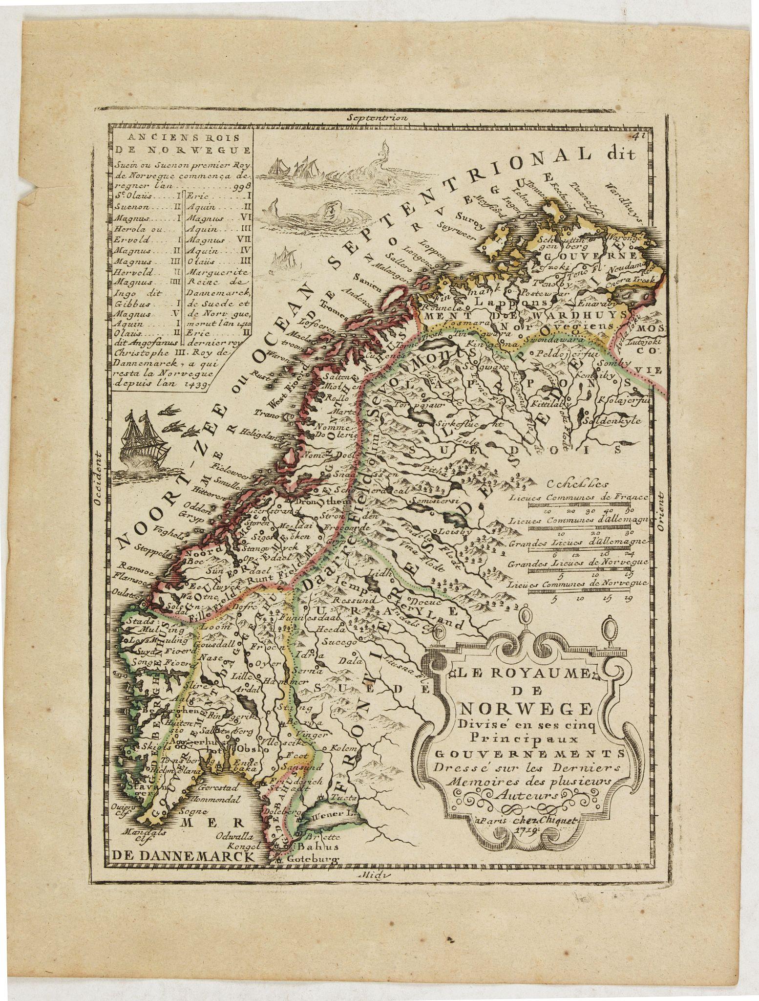 CHIQUET, J. -  Le Royaume de Norwege Divisé en ses cinq Principaux Gouvernements. . .