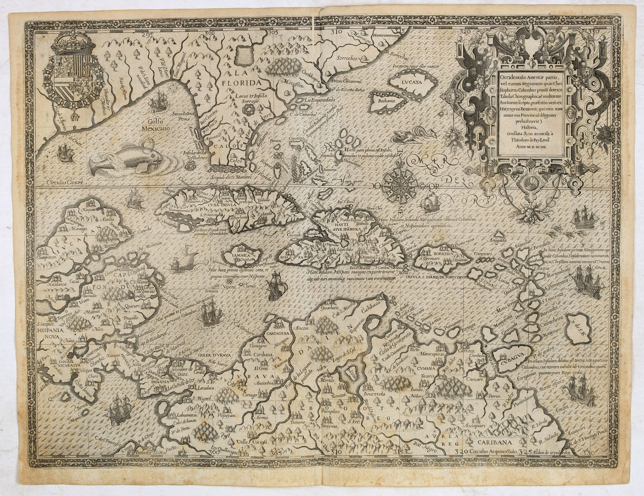 DE BRY, Th.,  Occidentalis Americae partis., antique map, old maps