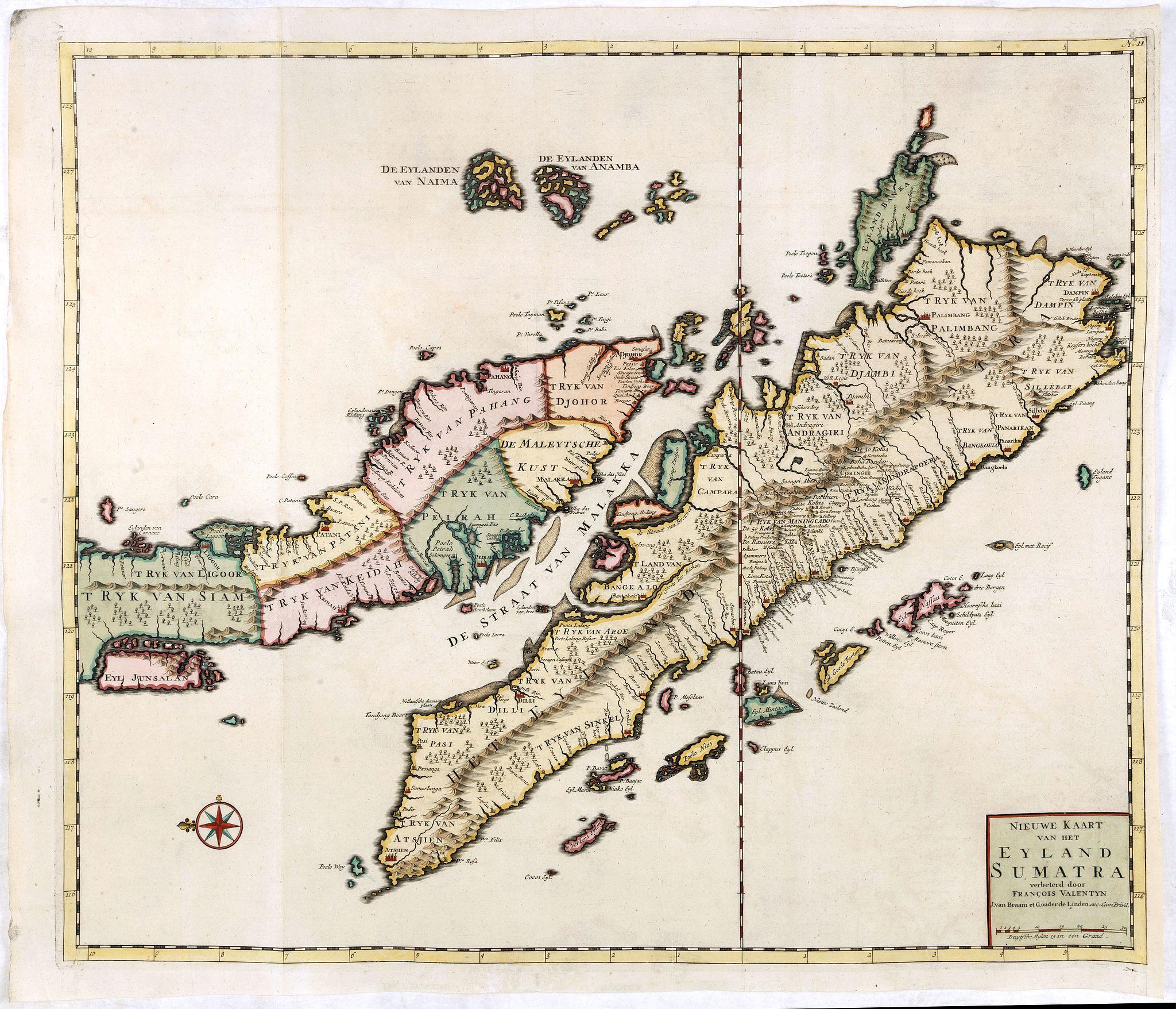 VALENTIJN, F. -  Nieuwe Kaart van het Eyland Sumatra..