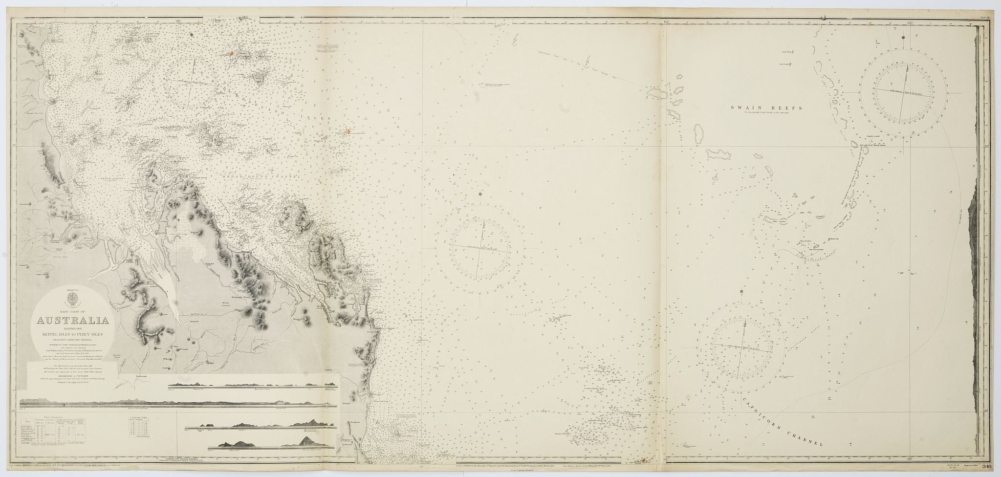 THE HYDROGRAPHIC OFFICE OF THE ADMIRALTY -  Sheet XII East coast of Australia Queensland Keppel Isles to Percy Isles. . .