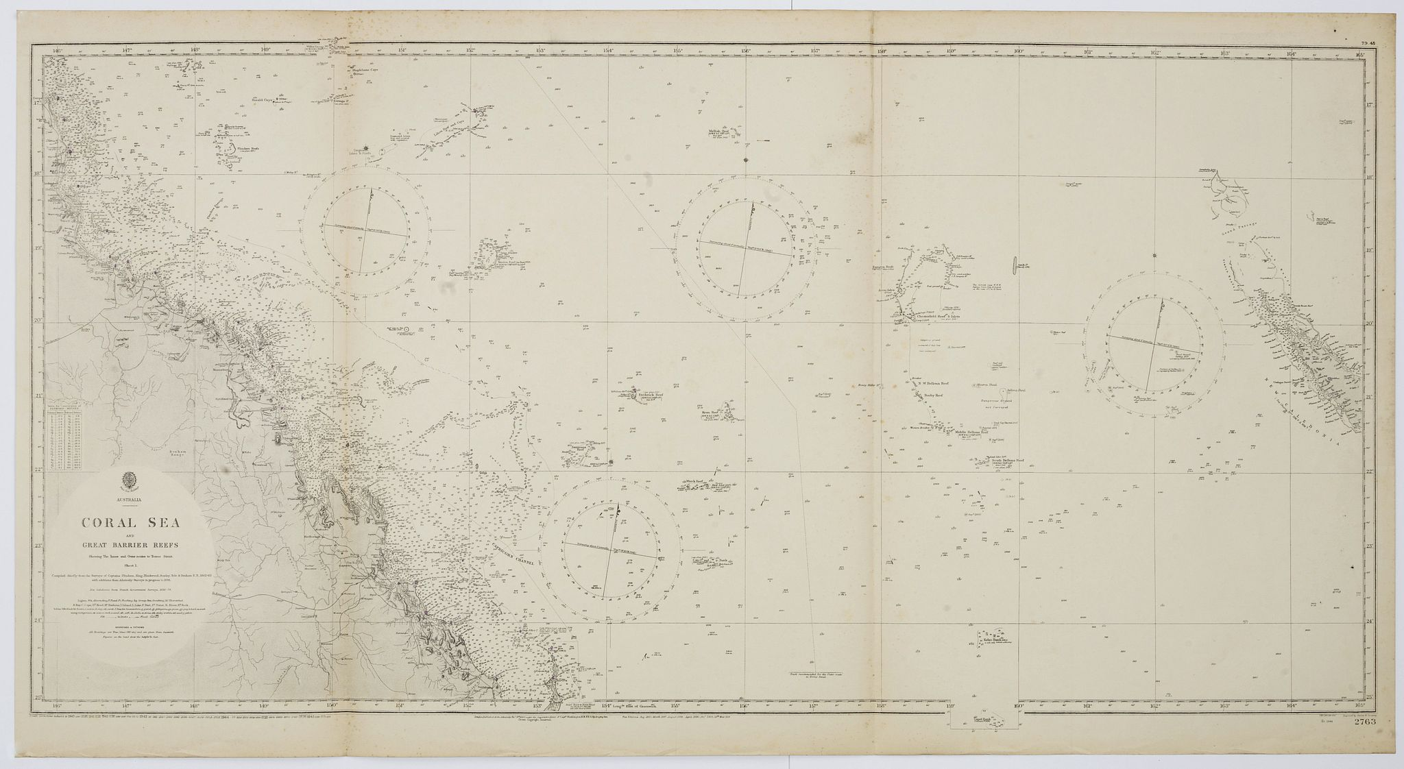 THE HYDROGRAPHIC OFFICE OF THE ADMIRALTY -  Australia, Coral Sea and Great Barrier Reefs shewing the inner and outer routes to Torres Strait. Sheet 1. . .