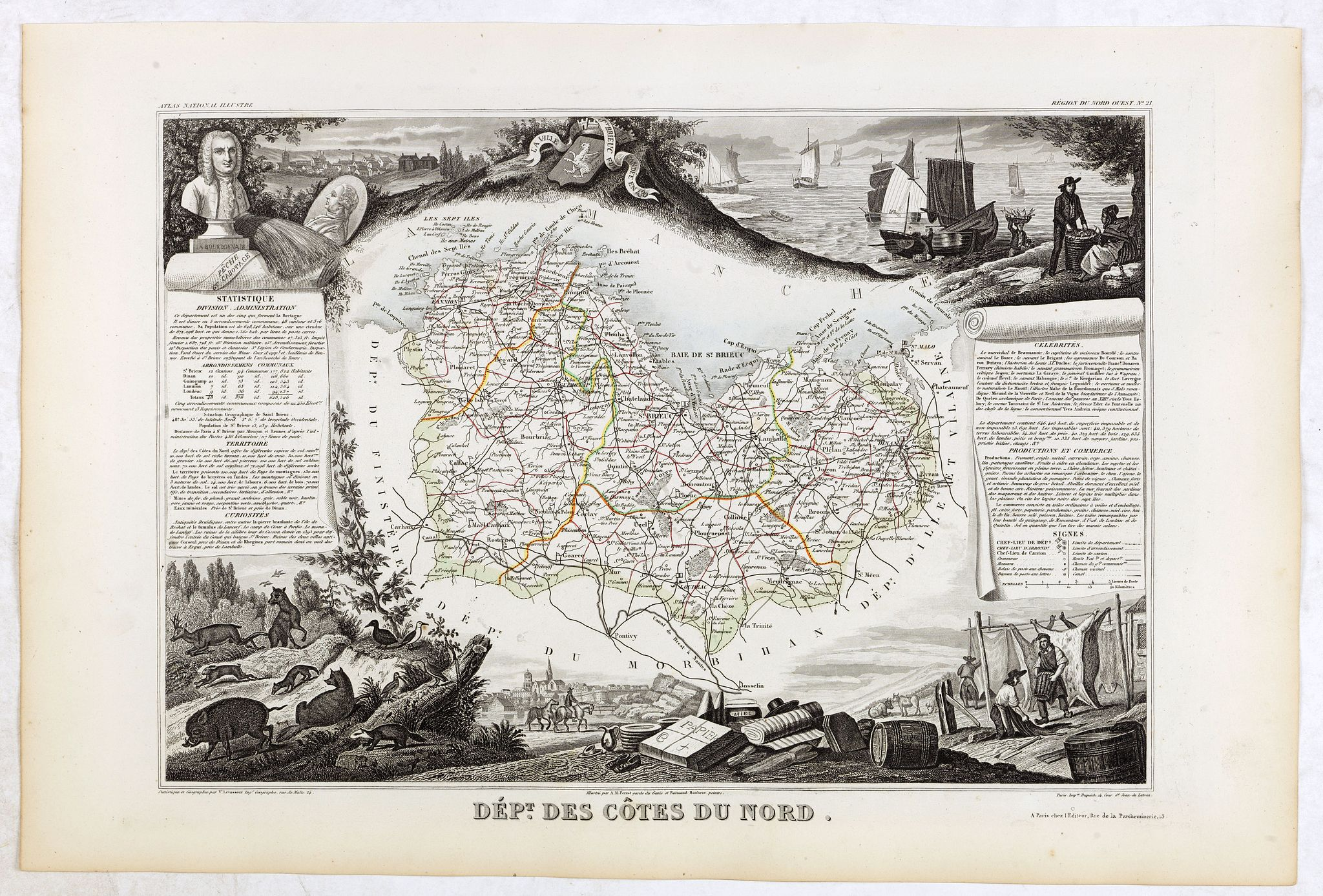 LEVASSEUR, V. -  Dépt. Des Côtes Du Nord. N°21.  [ St. Brieuc / St.Malo ]