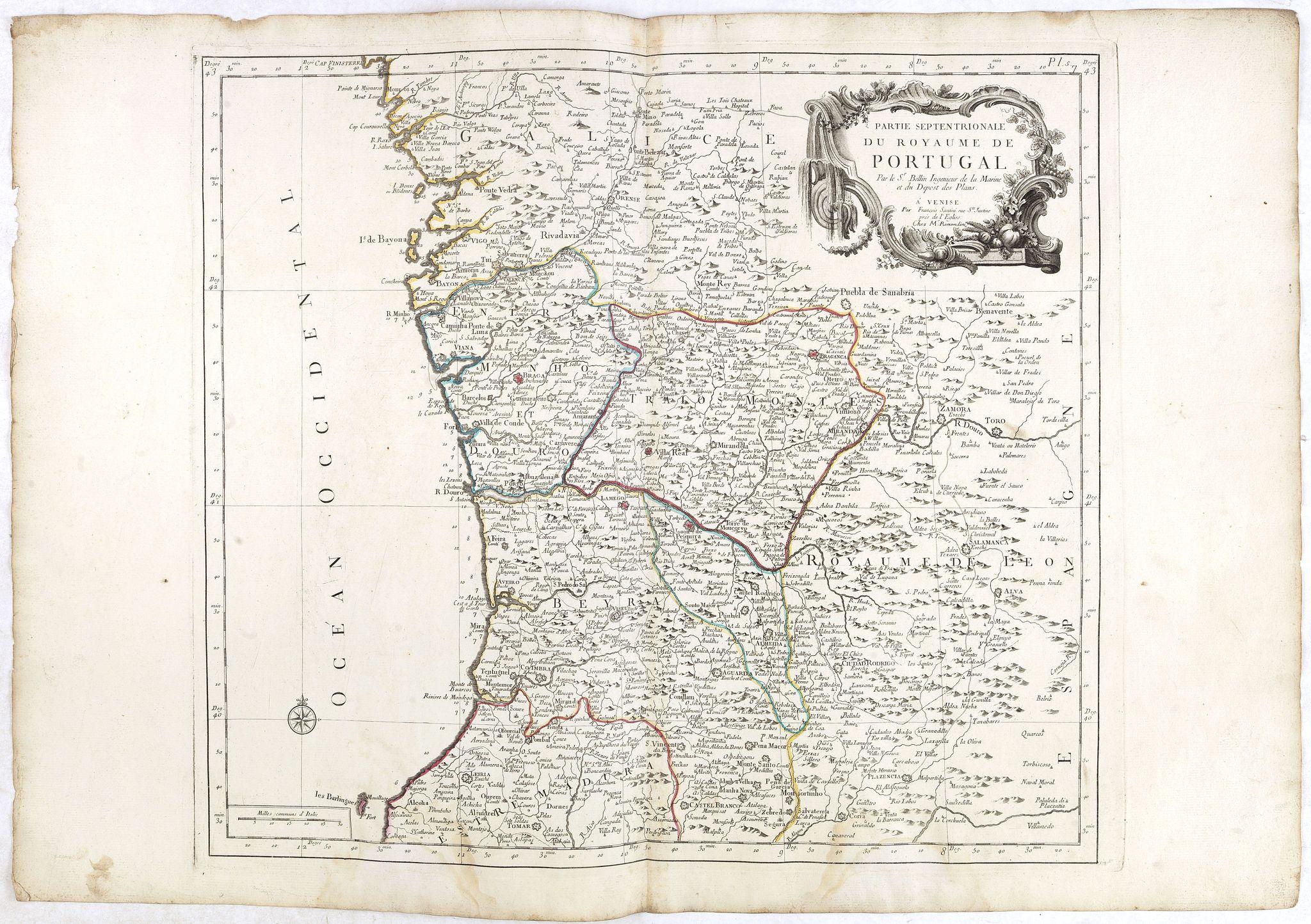SANTINI, P. / REMONDINI, M. -  Partie Septentrionale du Royaume de Portugal. . .