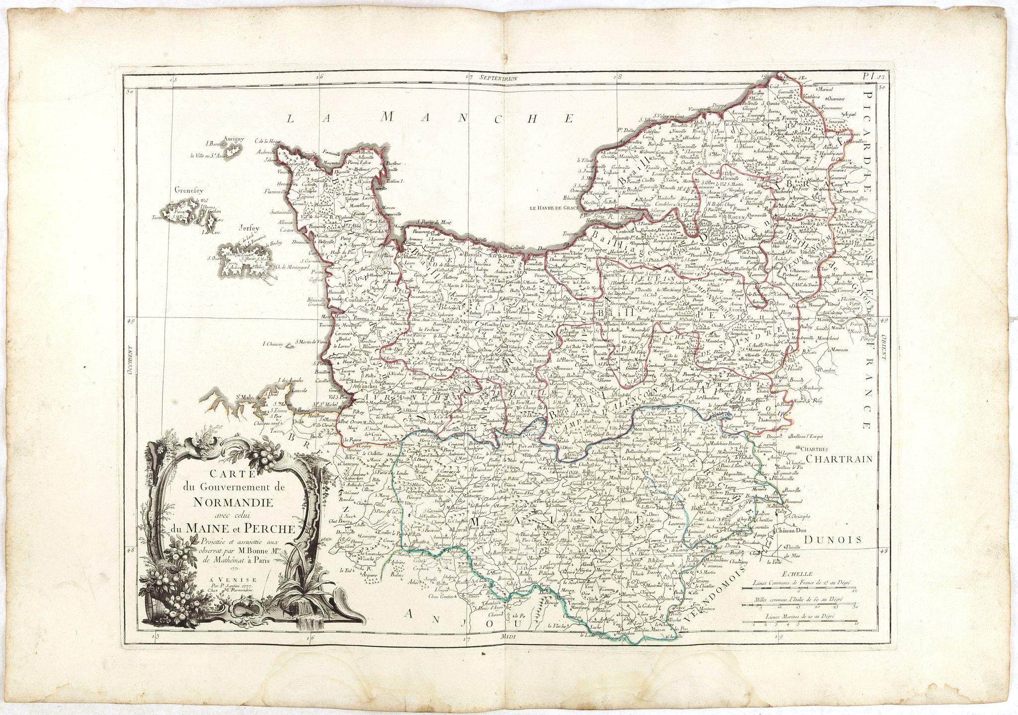 SANTINI, P. / REMONDINI, M. -  Carte du Gouvernement de Normandie avec celui du Maine et Perche.