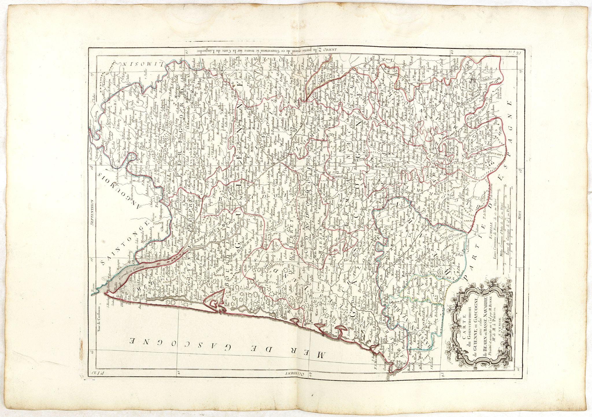 BONNE / SANTINI, P. / REMONDINI, M. -  Carte des Gouvernements de Guienne et Gascogne, avec celui de Bearn et basse Navarre.