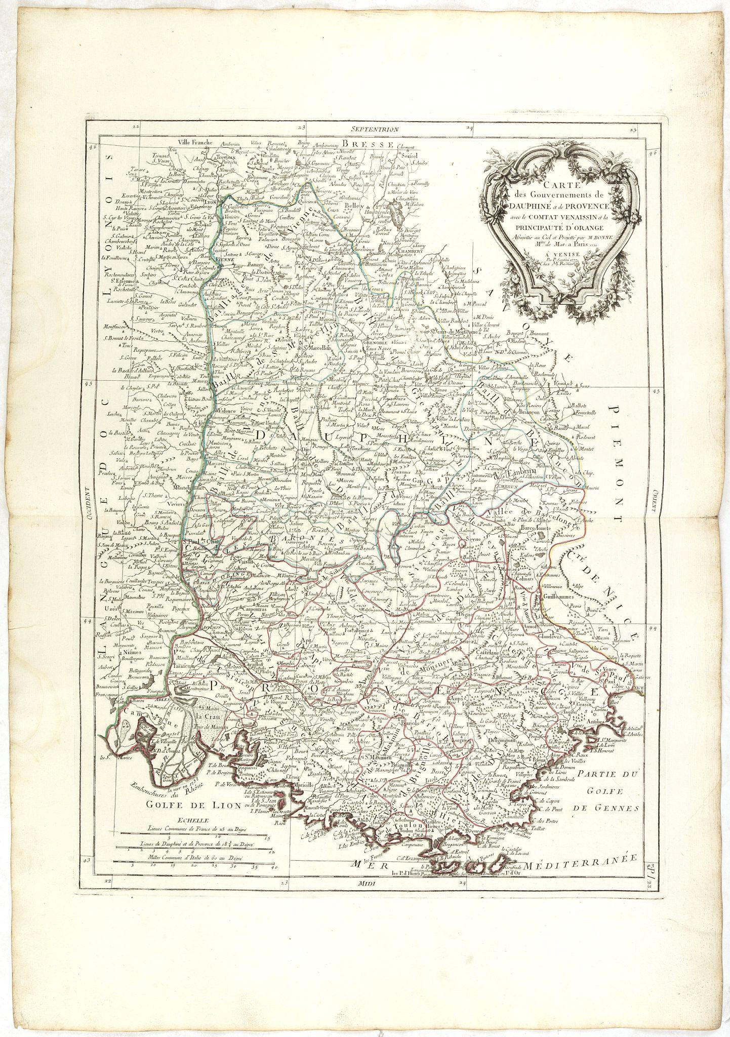 SANTINI, P. / REMONDINI, M. -  Carte des Gouvernements de Dauphiné et de Province. . .