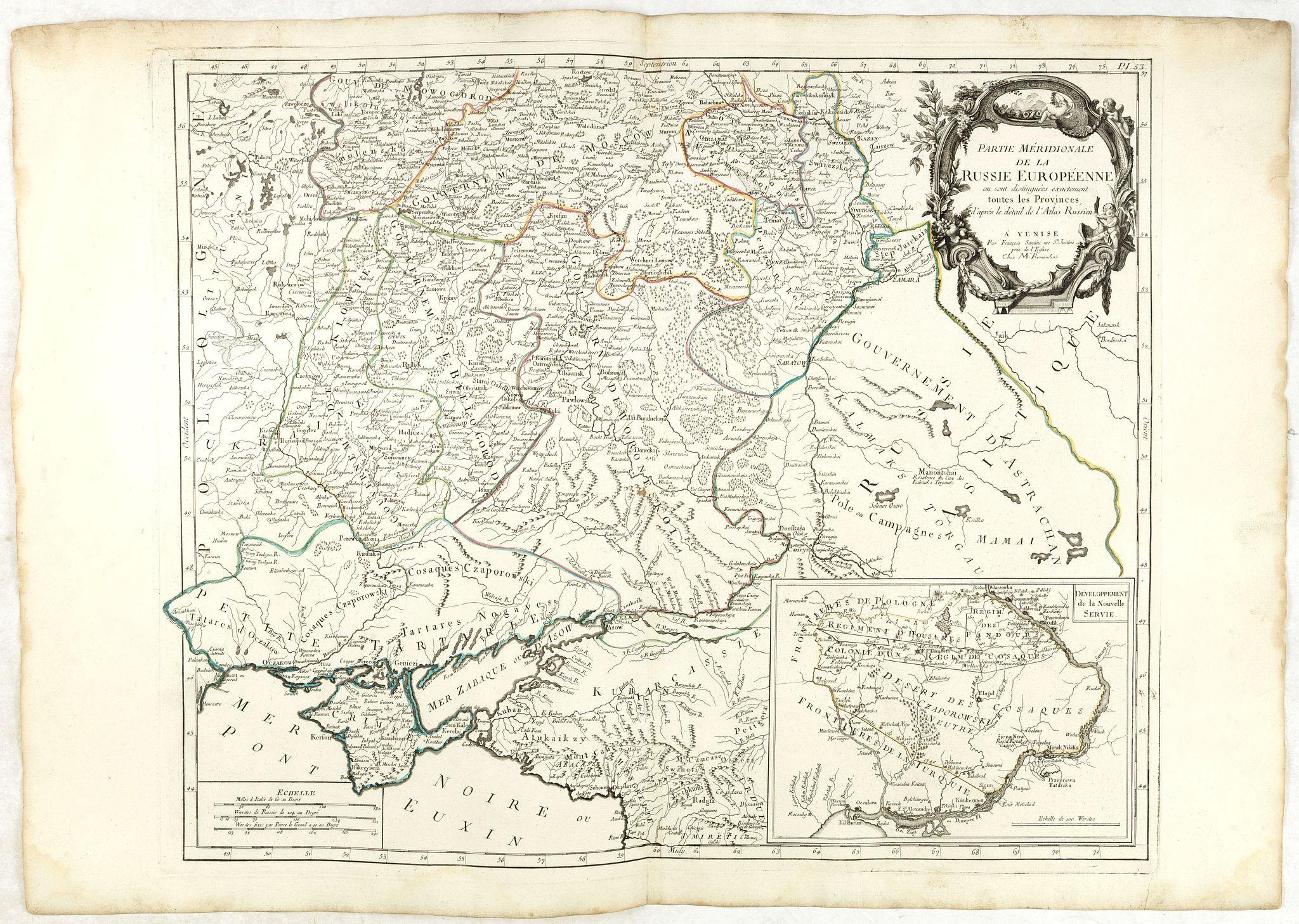SANTINI, F. / REMONDINI, M. -  Partie Méridionale de la Russie Europeenne ou sont distinguees exactement toutes les Provinces, d'après le detail de l'Atlas Russien.