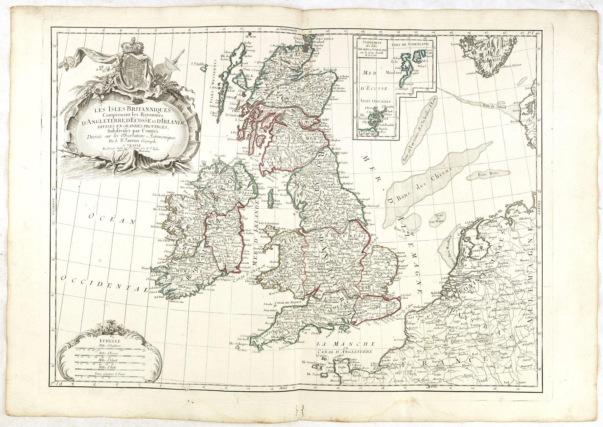 SANTINI, P. / REMONDINI, M. -  Les Isles Britanniques Comprenant les Royaumes D'Angleterre, D'Ecosse et D'Irlande divisée en grands provinces. . .