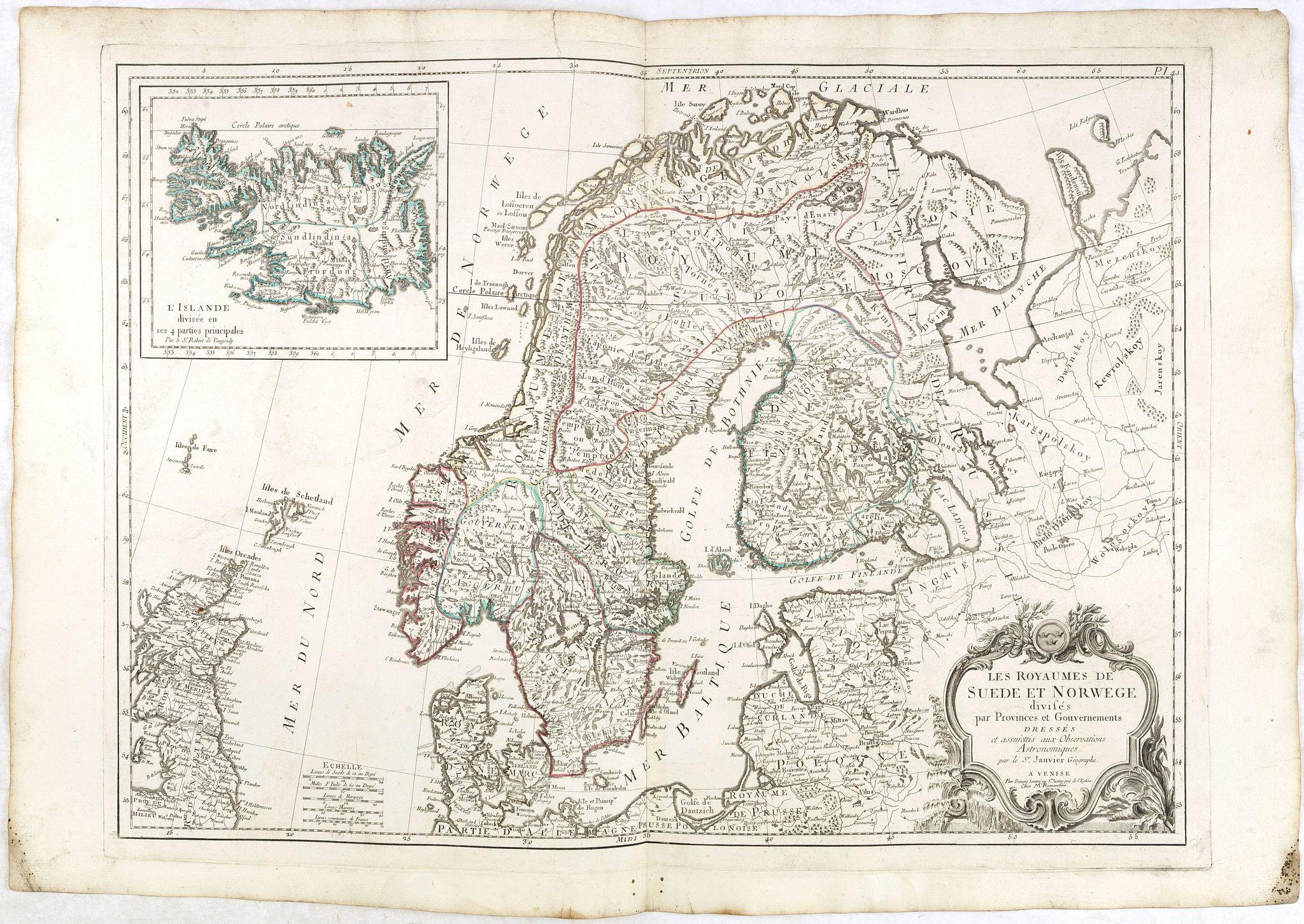 SANTINI, F. / REMONDINI, M. -  Les Royaumes de Suede et Norwege divisés par Provinces et Gouvernements Dressés et assujettis aux observations Astronomiques. Par le Sr. Janvier Géographe.