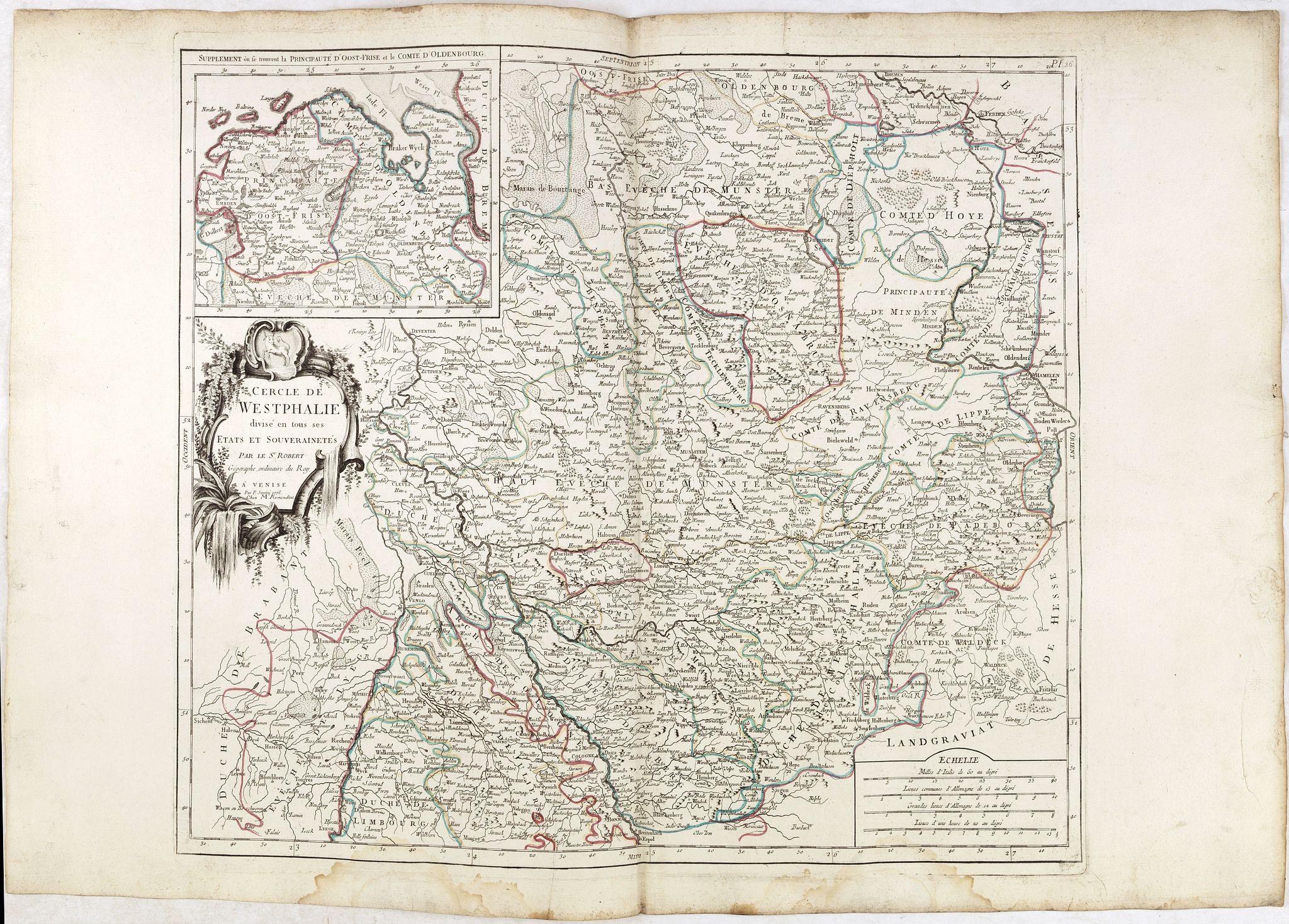 SANTINI, P. / REMONDINI, M. -  Cercle de Westphalie divisé en tous ses Etats et Souverainetés.